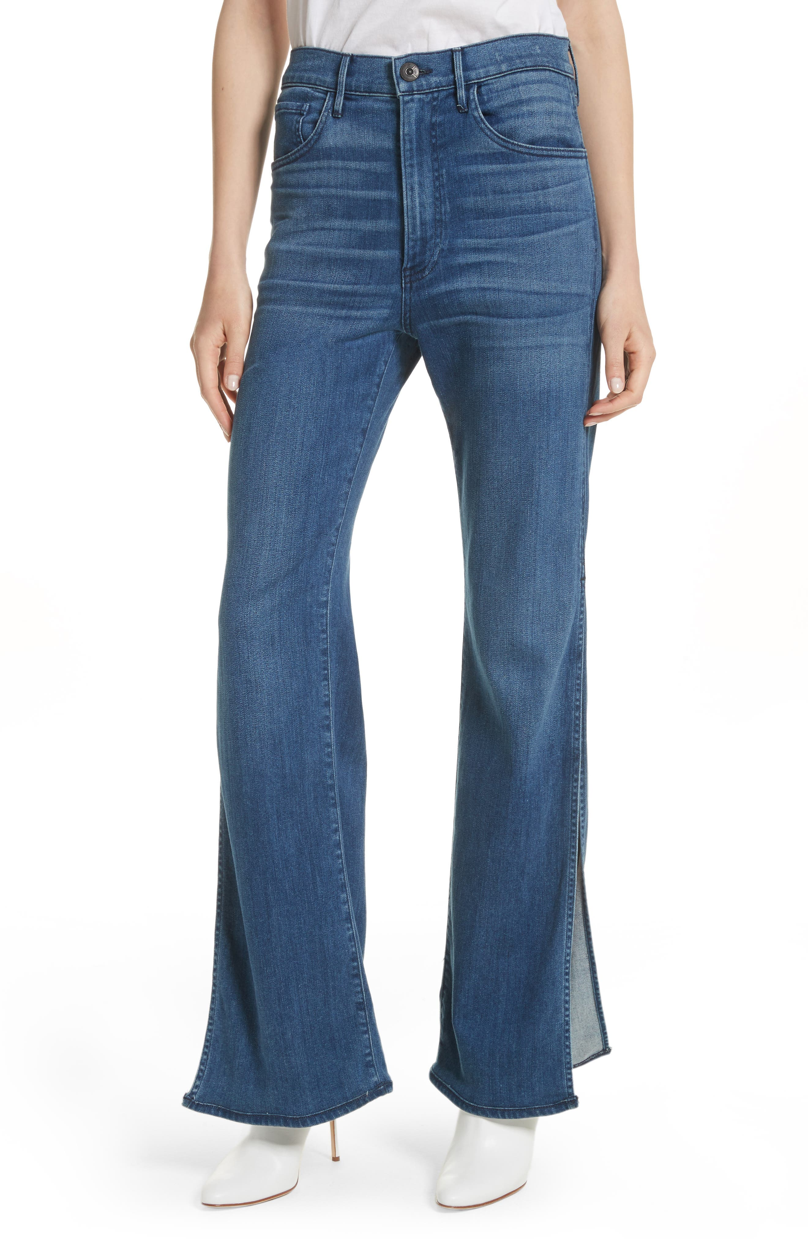 W4 Adeline High Waist Split Flare Jeans,                             Main thumbnail 1, color,                             Leia