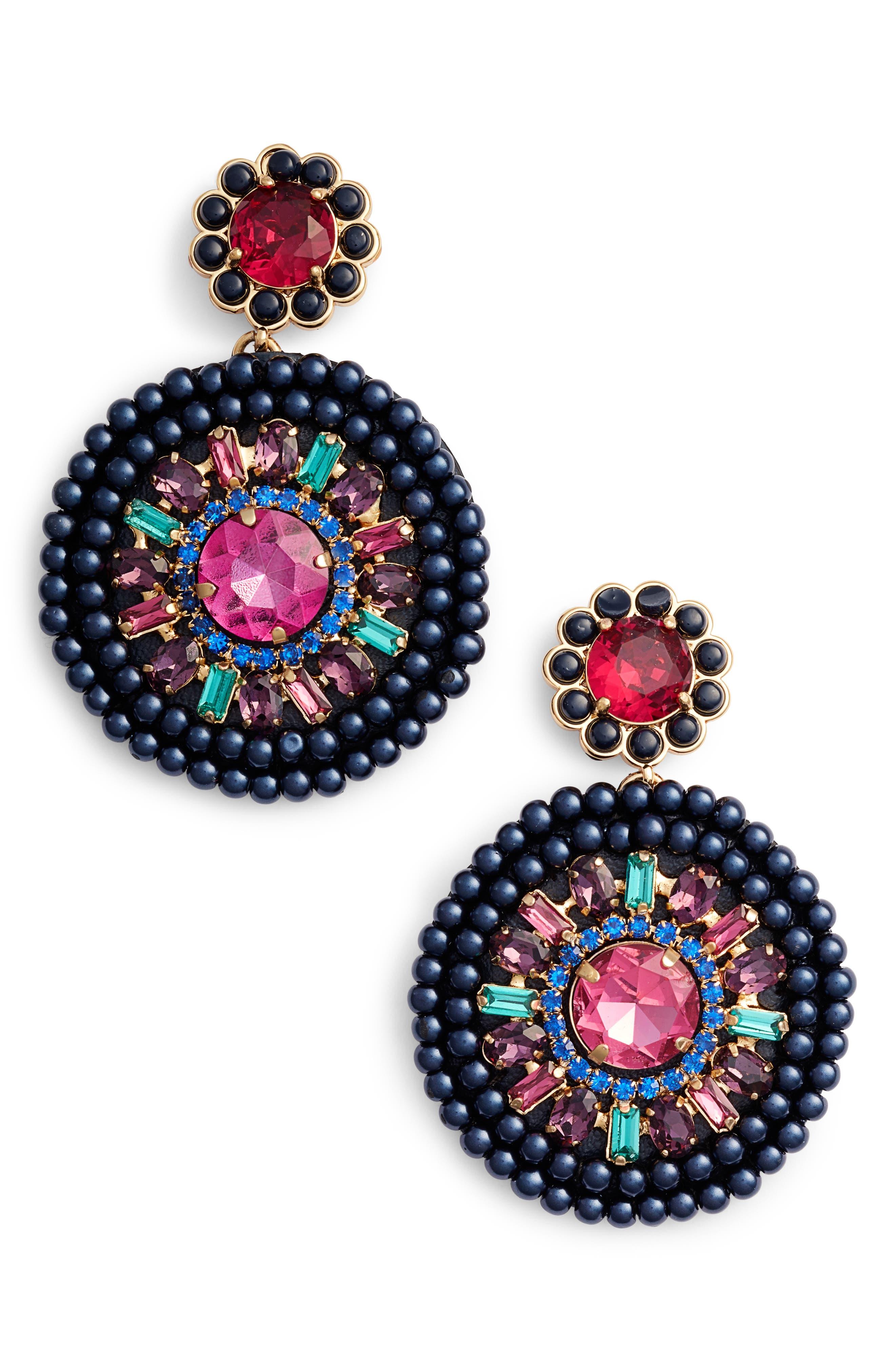 luminous leather statement earrings,                         Main,                         color, Jet Multi