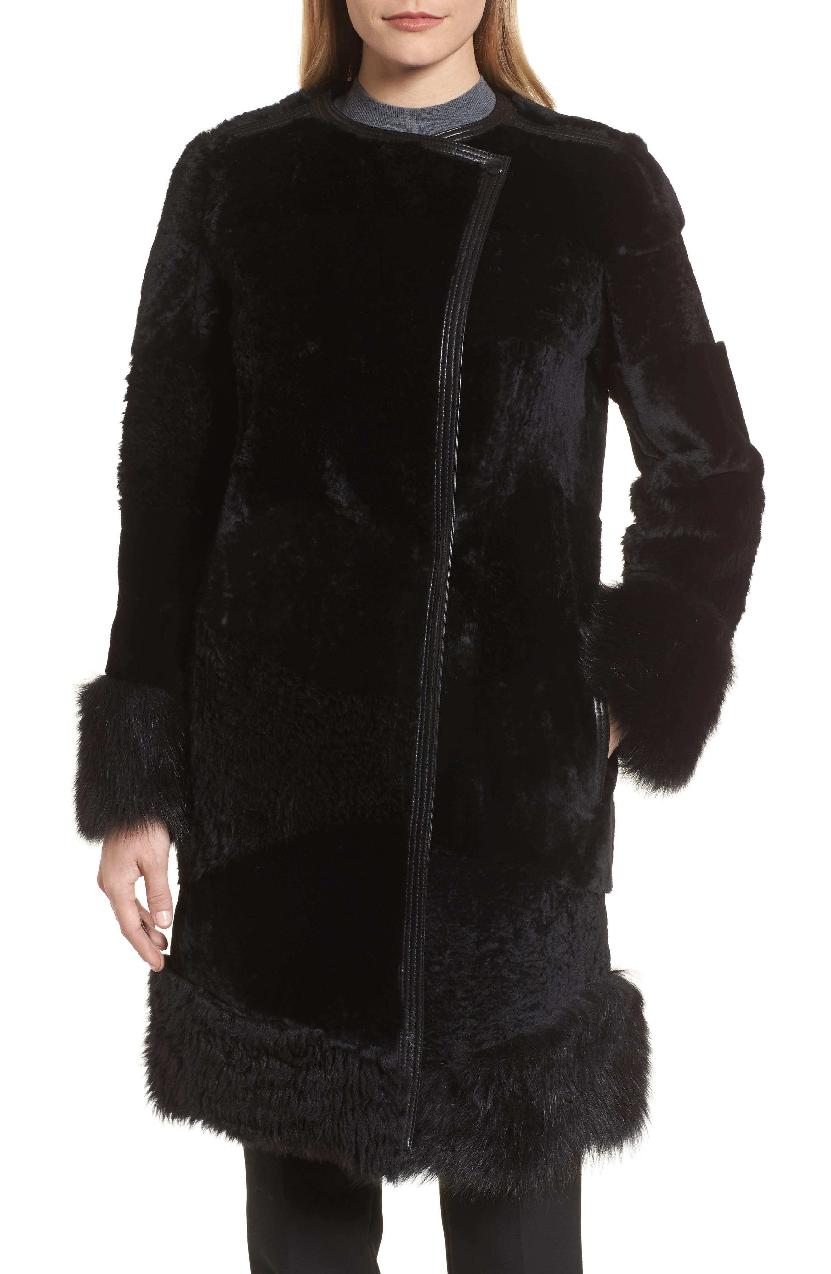 Main Image - BOSS Sopora Long Genuine Shearling & Leather Trim Jacket