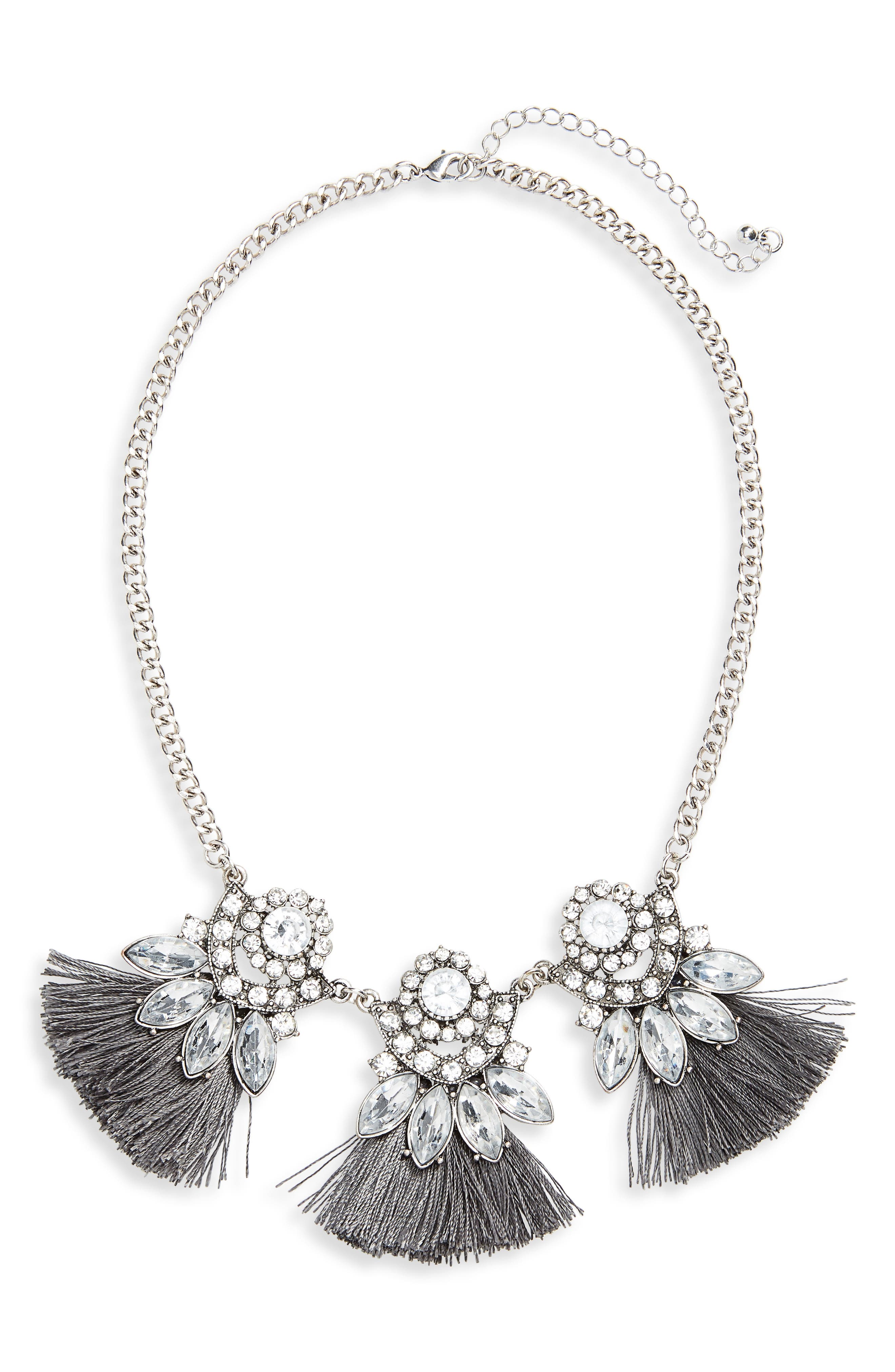 Crystal Tassel Statement Necklace,                             Main thumbnail 1, color,                             Silver/ Gray/ Crystal