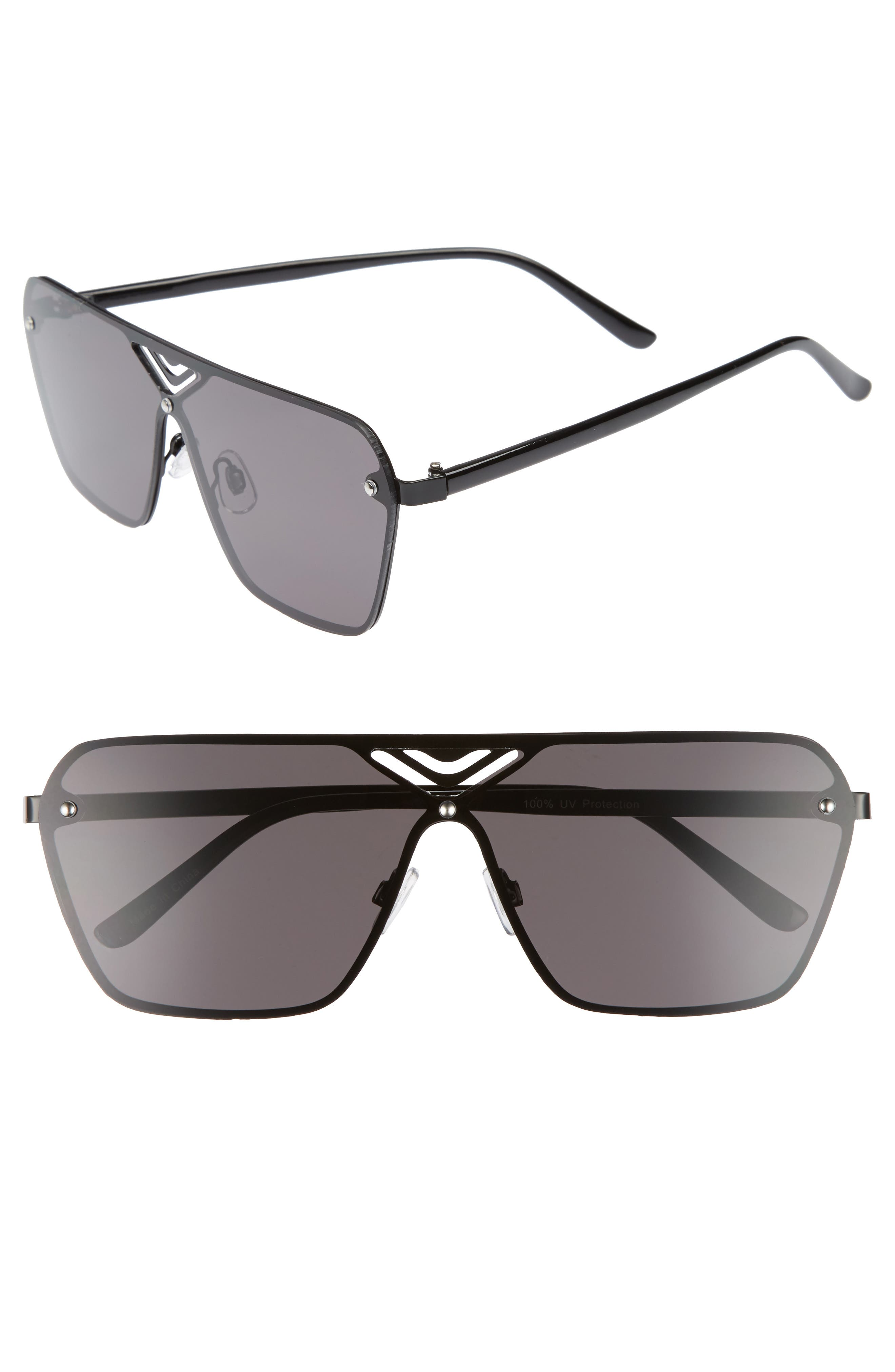 70mm Cutout Shield Sunglasses,                         Main,                         color, Black