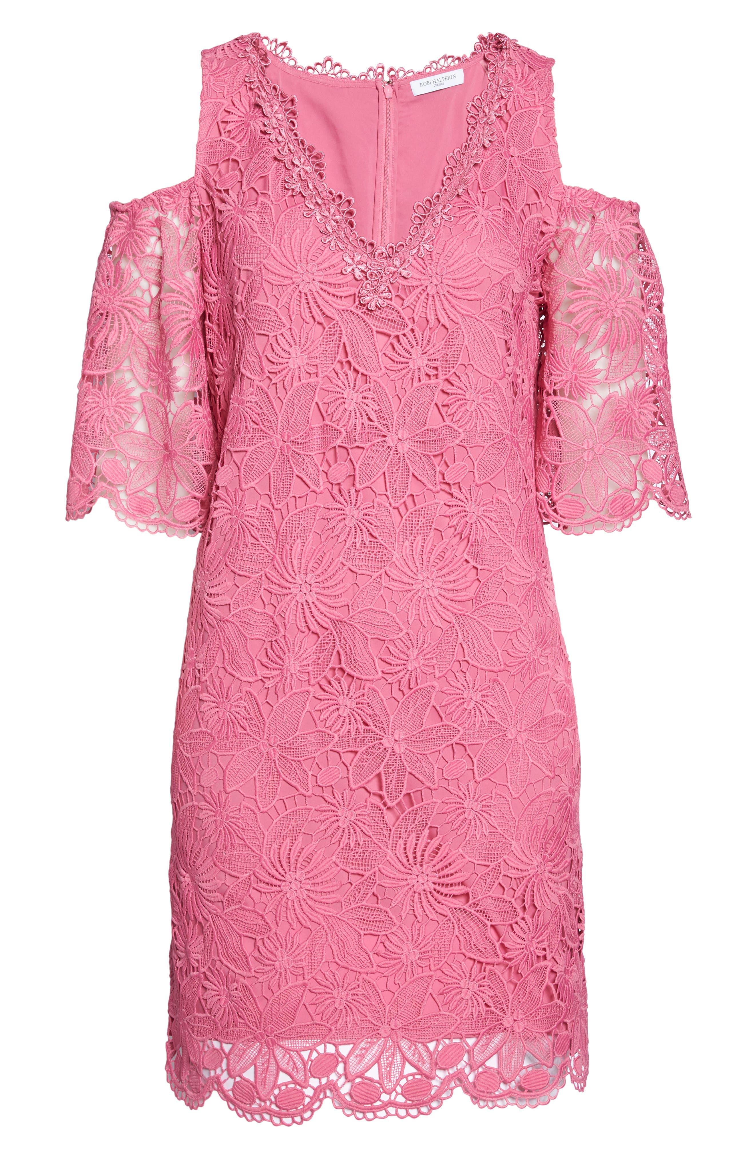 Edna Cold Shoulder Lace Dress,                             Alternate thumbnail 6, color,                             Tulip
