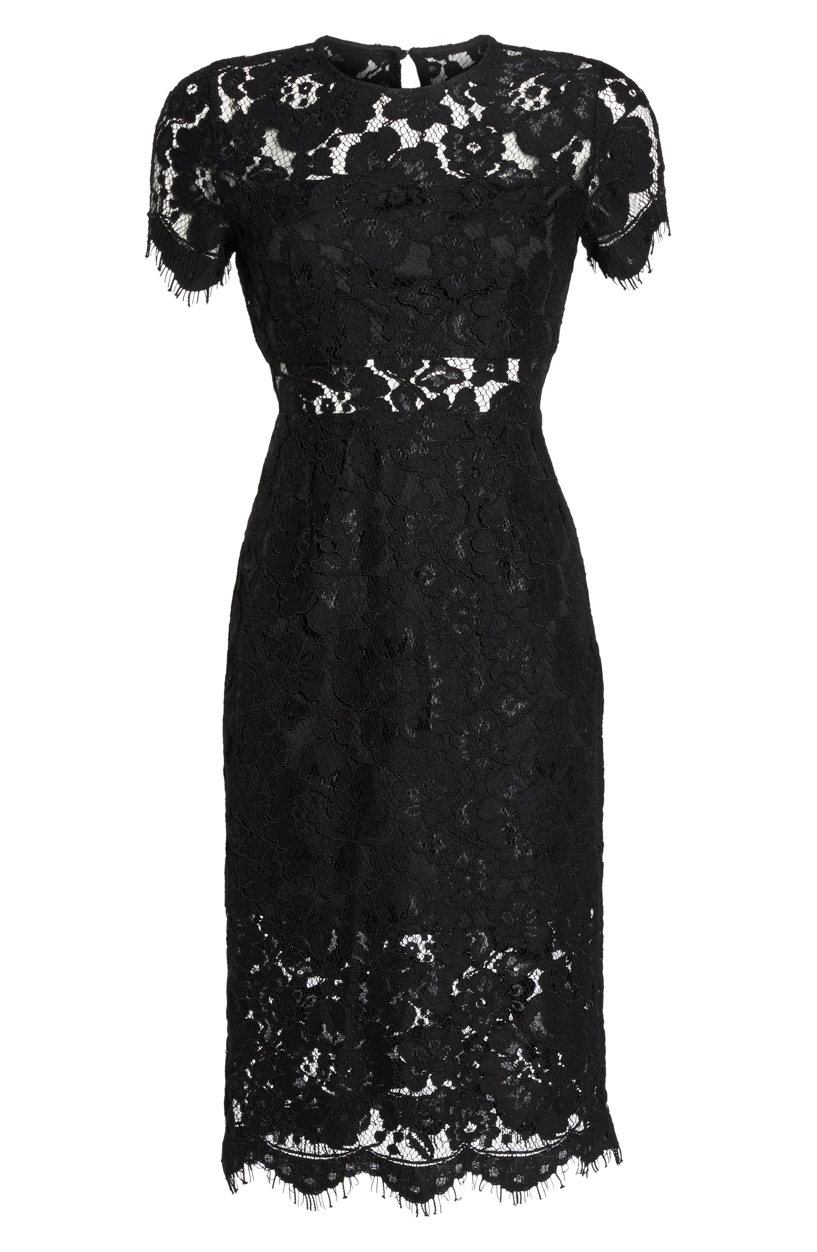 Lace Midi Dress,                             Alternate thumbnail 6, color,                             Black