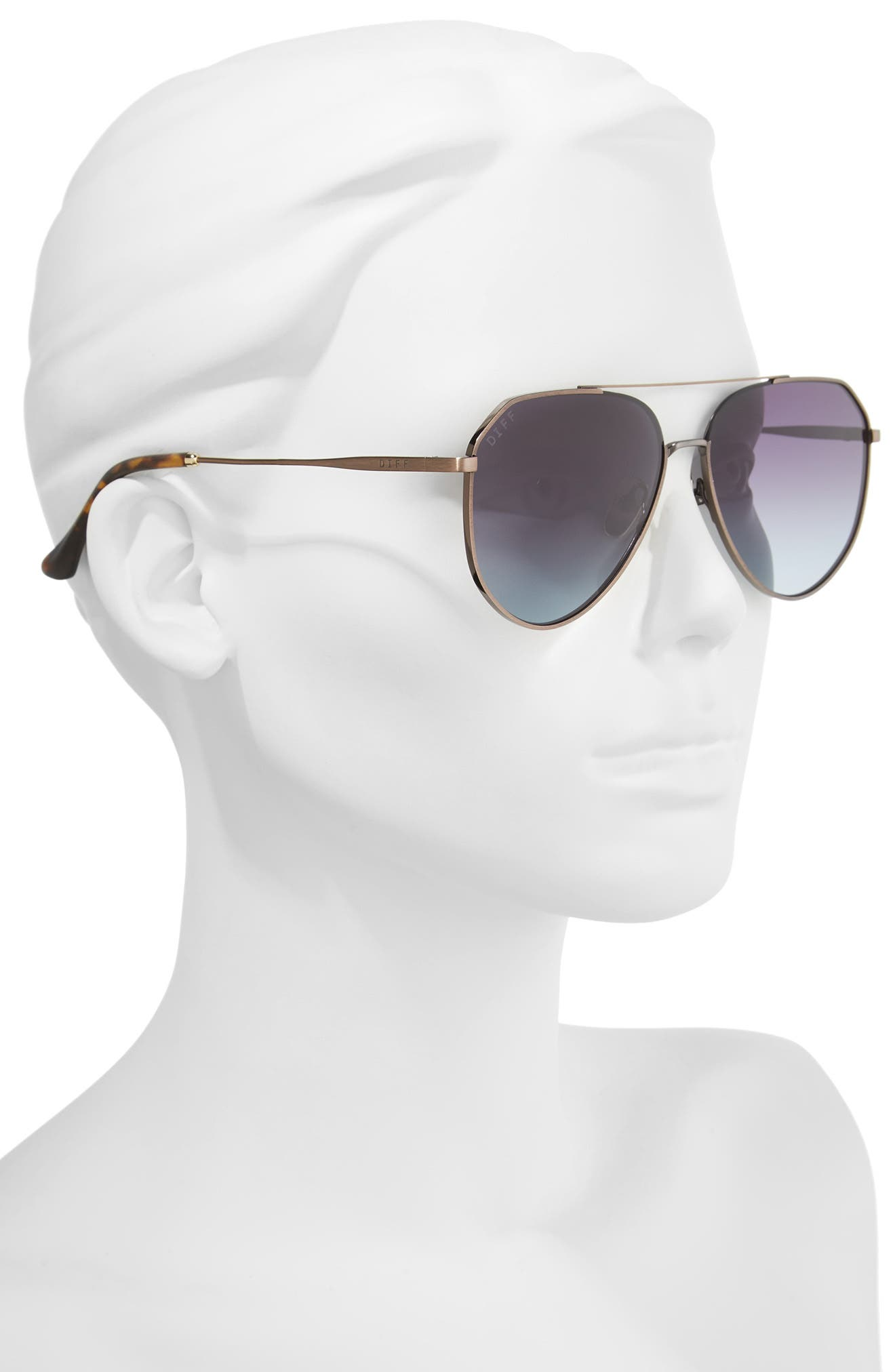Dash 58mm Aviator Sunglasses,                             Alternate thumbnail 3, color,                             Brown/ Grey Blue