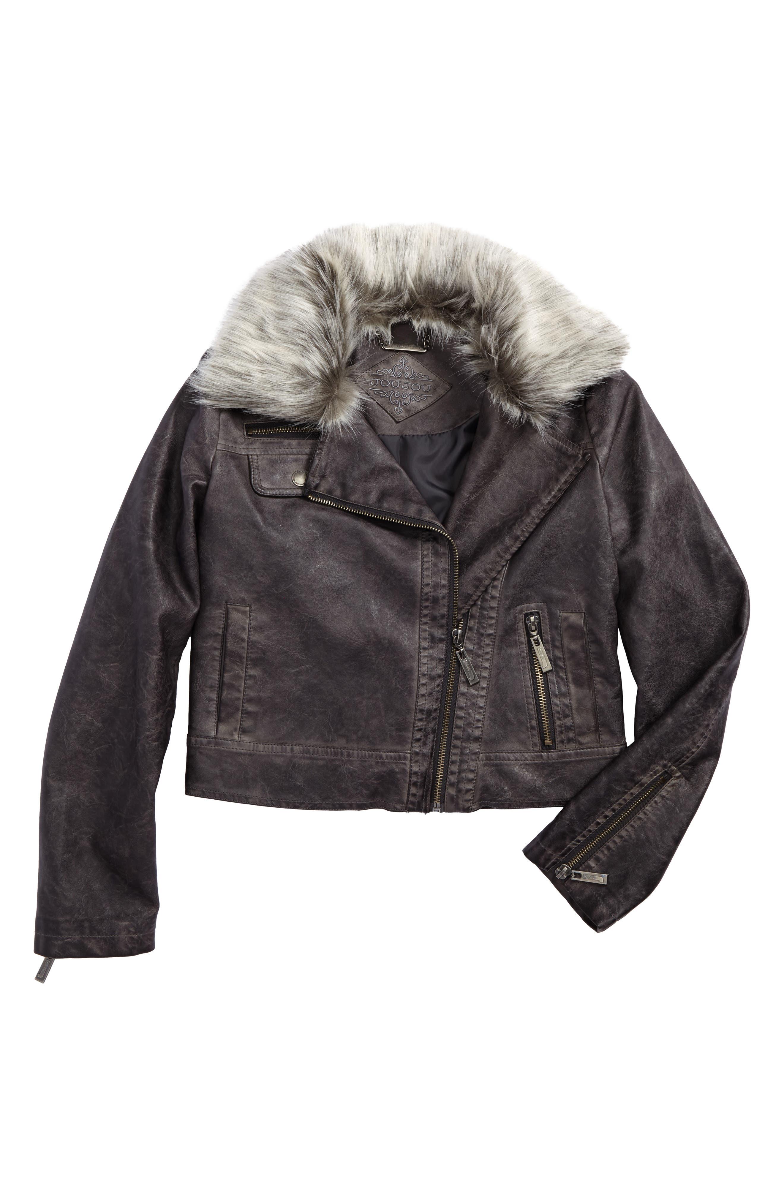 Jou Jou Faux Leather Jacket with Faux Fur Trim (Big Girls)