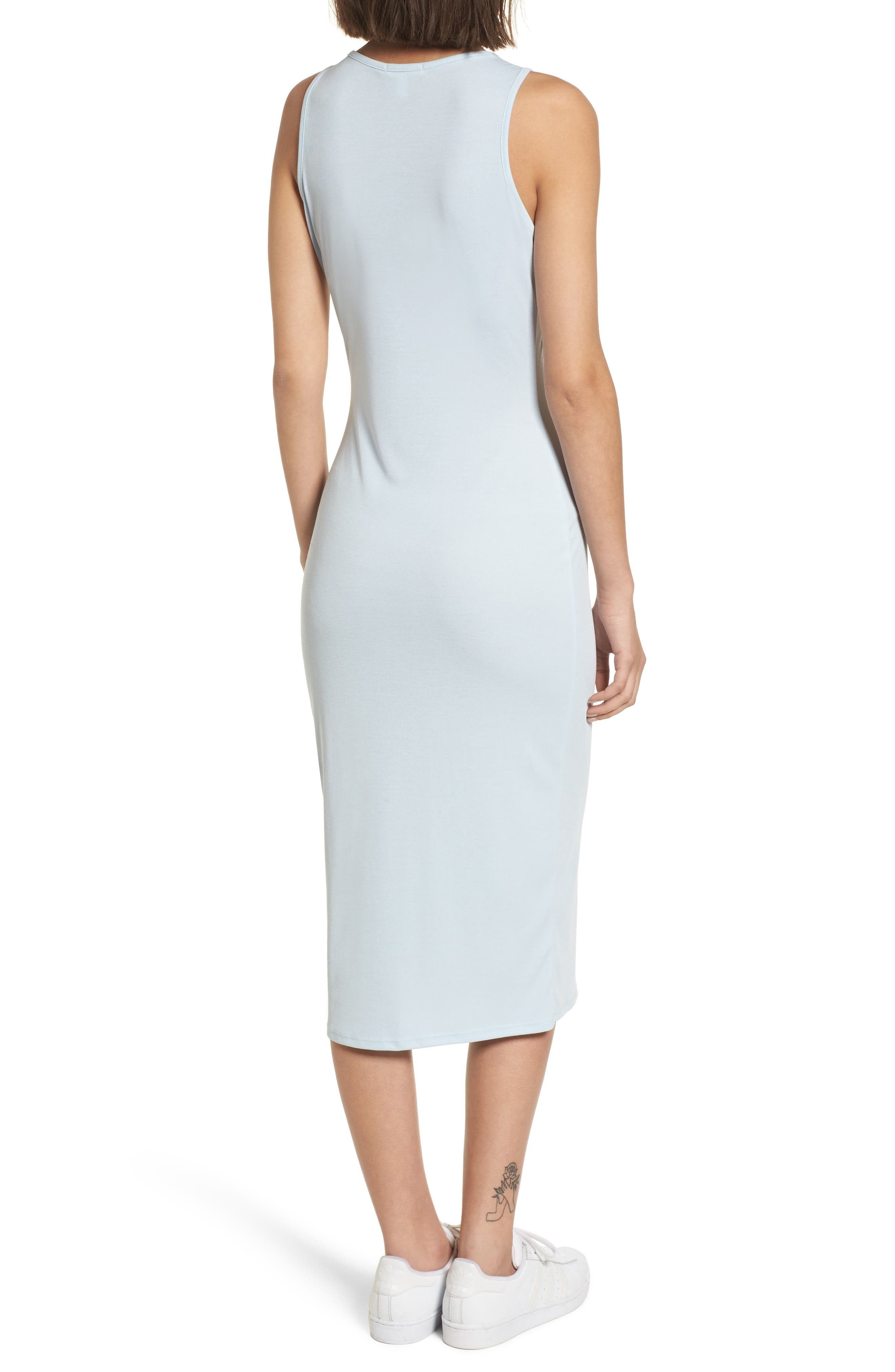 Snap Front Midi Dress,                             Alternate thumbnail 2, color,                             Blue Omphalodes