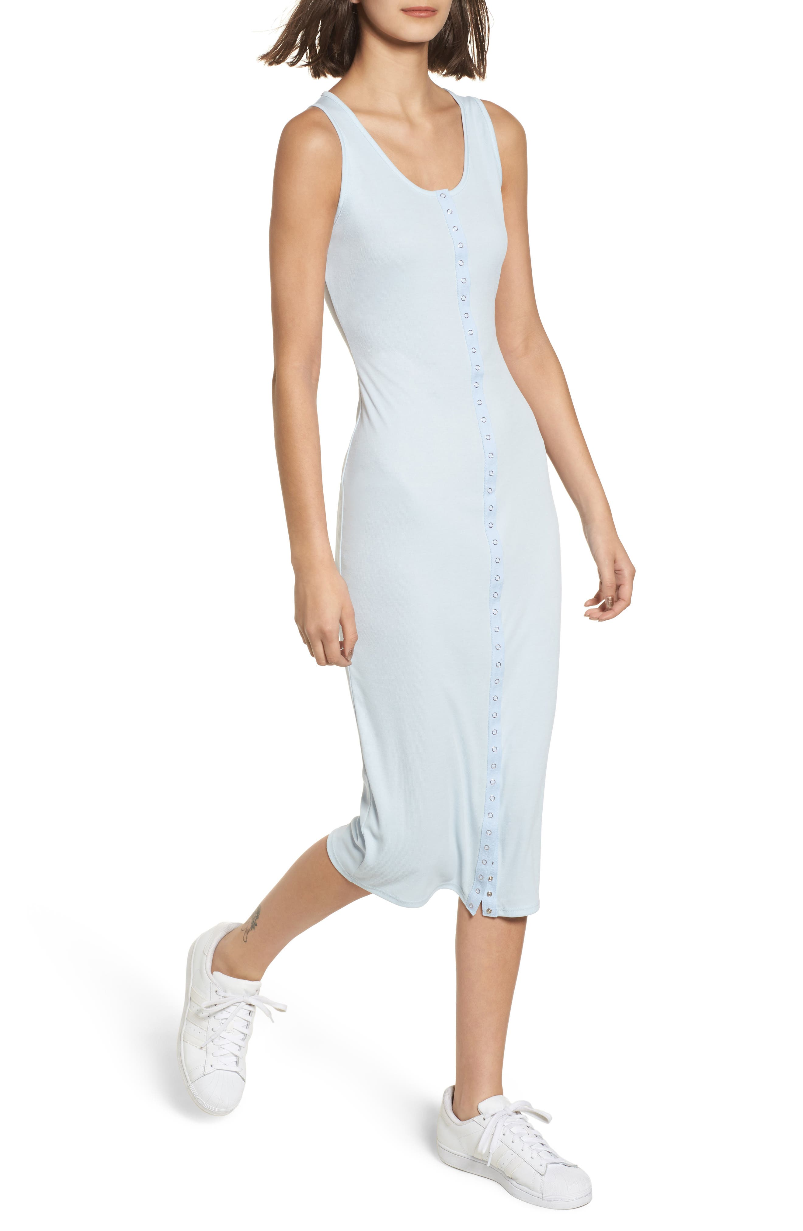 Snap Front Midi Dress,                         Main,                         color, Blue Omphalodes