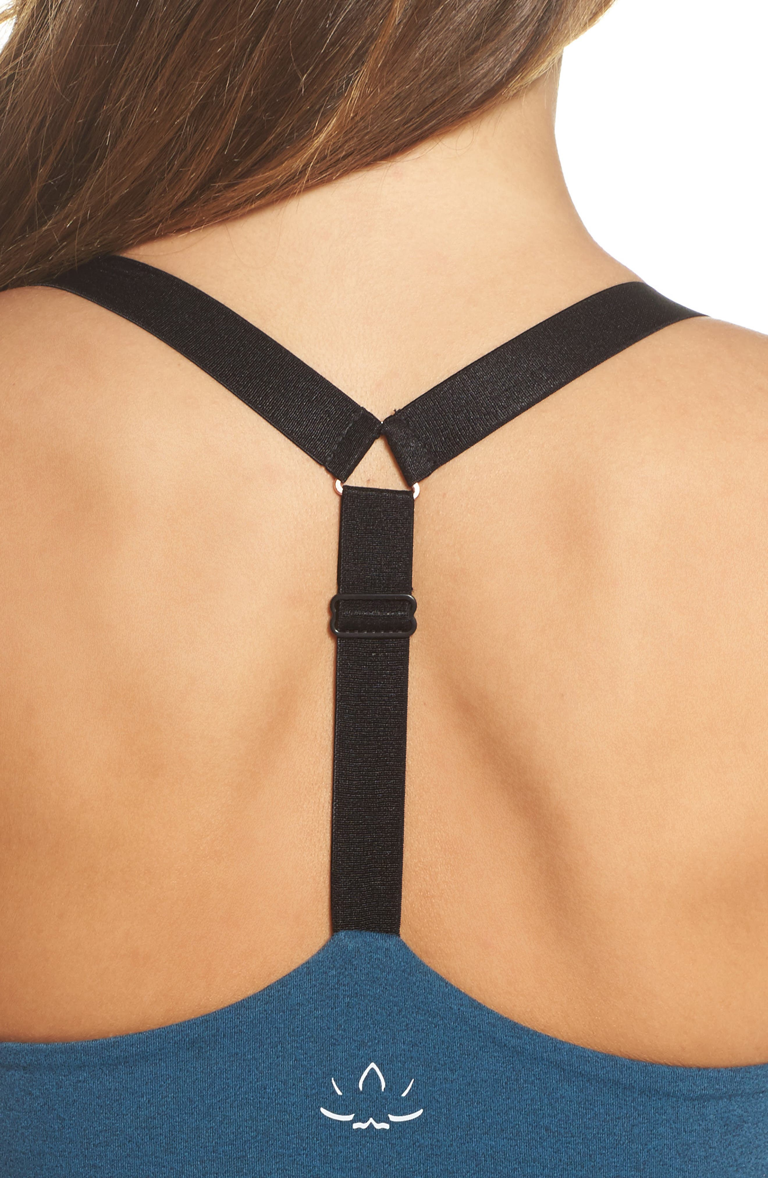 Block & Key Sports Bra,                             Alternate thumbnail 3, color,                             Deep Sapphire Heather