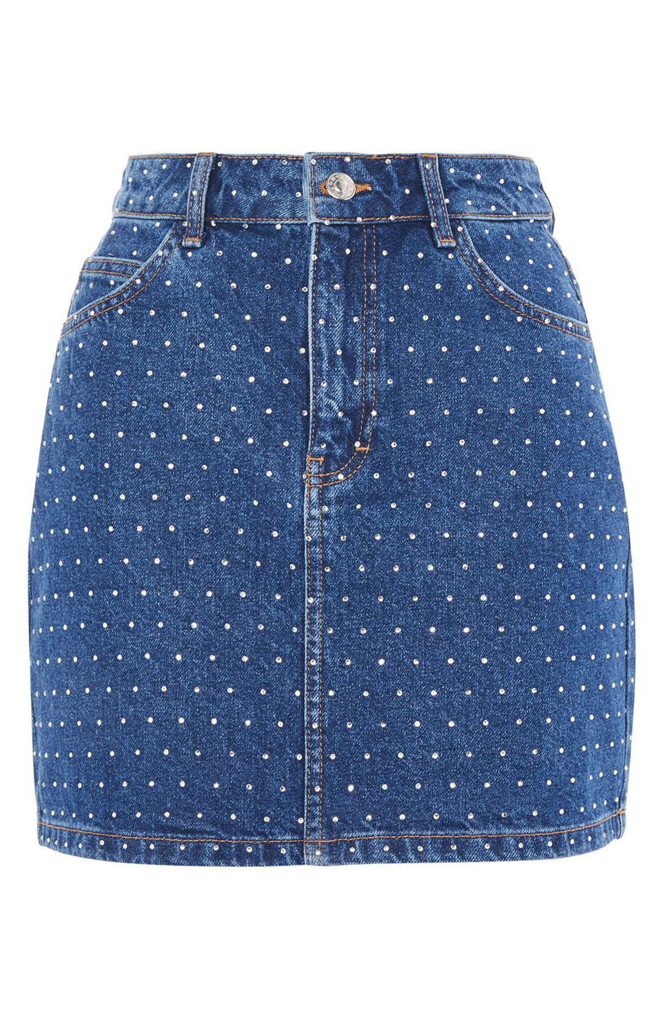 Crystal Studded Denim Miniskirt,                             Alternate thumbnail 4, color,                             Mid Denim