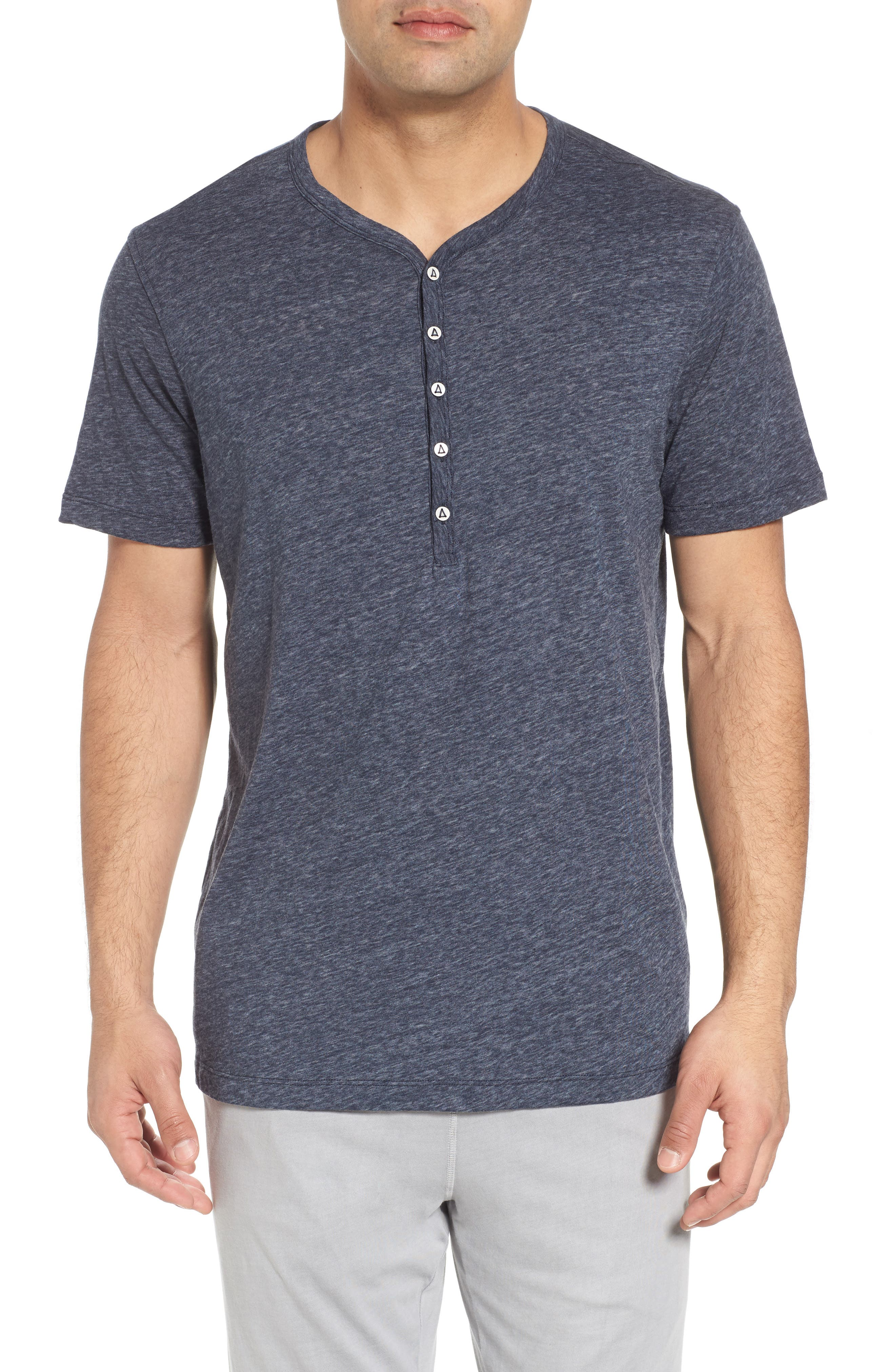 Short Sleeve Recycled Cotton Blend Henley,                         Main,                         color, Navy Heather