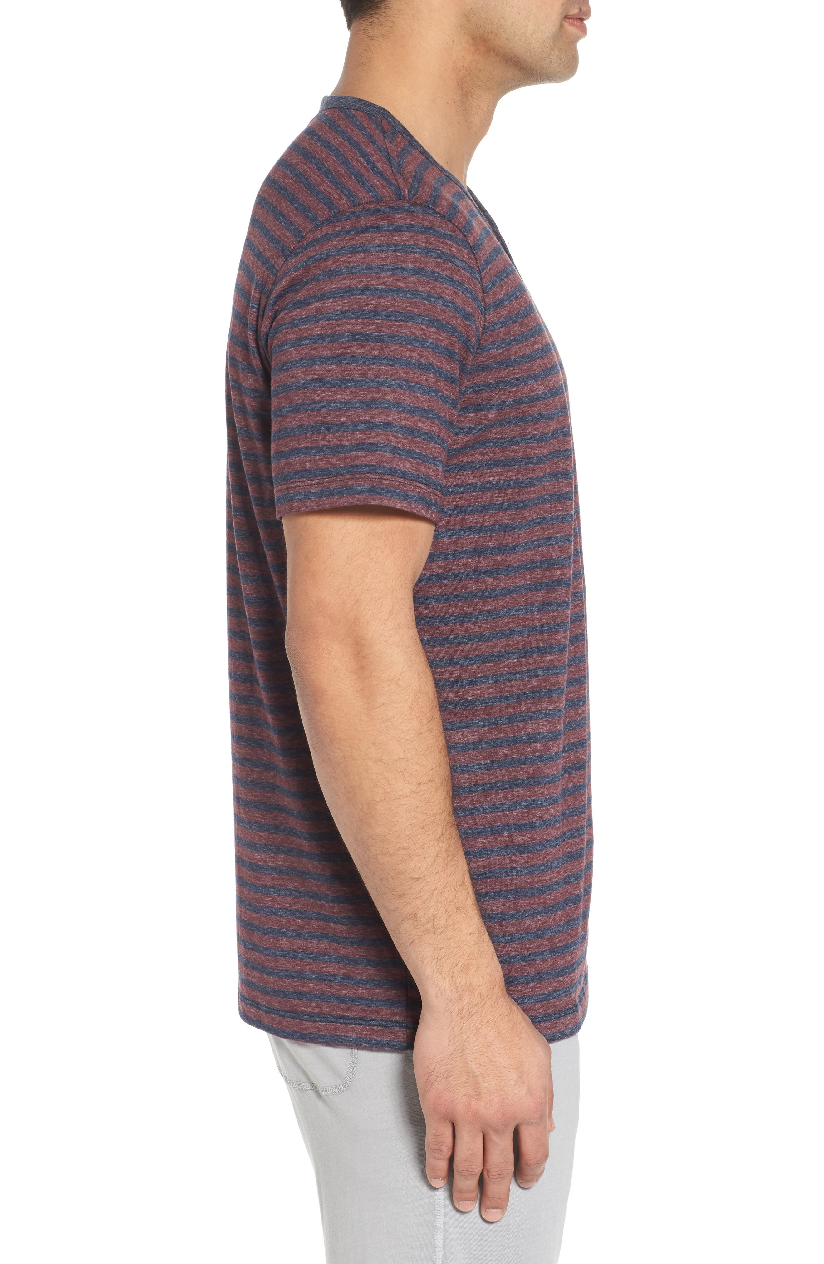 Short Sleeve Recycled Cotton Blend Henley,                             Alternate thumbnail 3, color,                             Blue/ Red