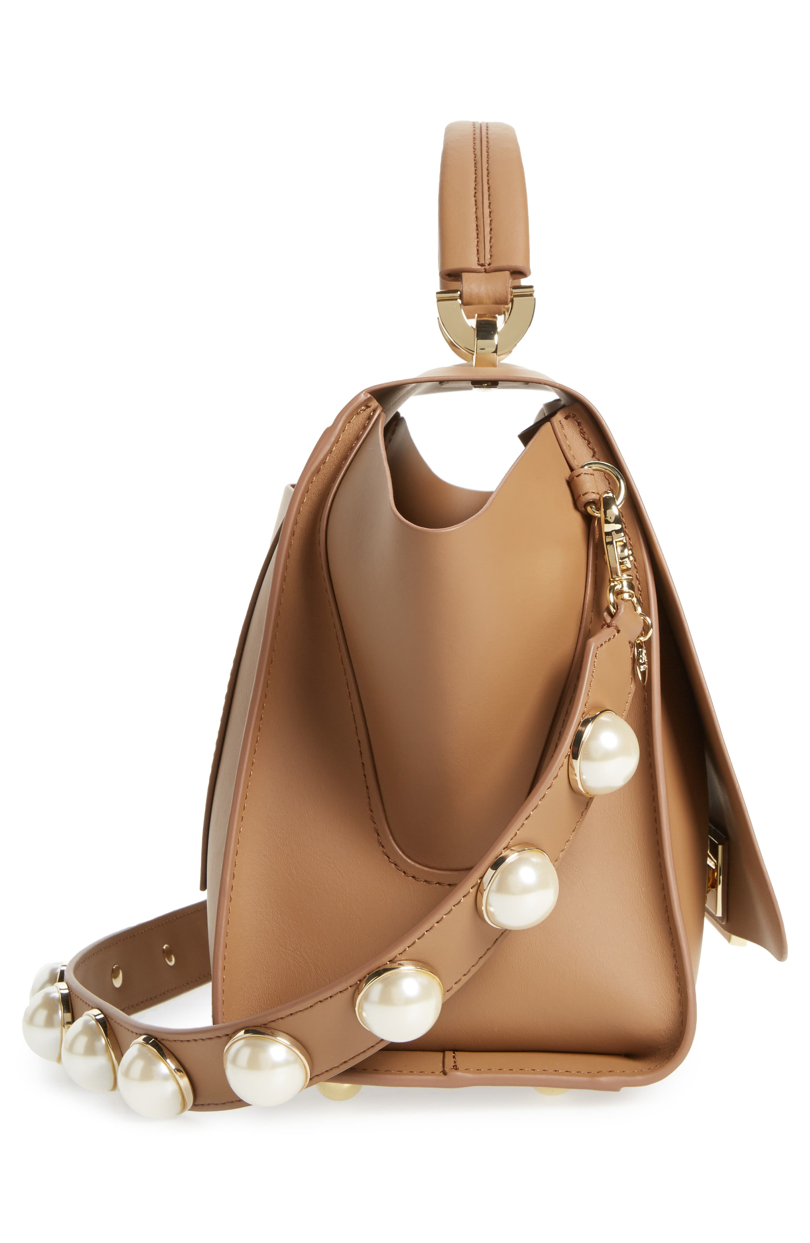 Eartha Iconic Leather Top Handle Satchel,                             Alternate thumbnail 5, color,                             Nude