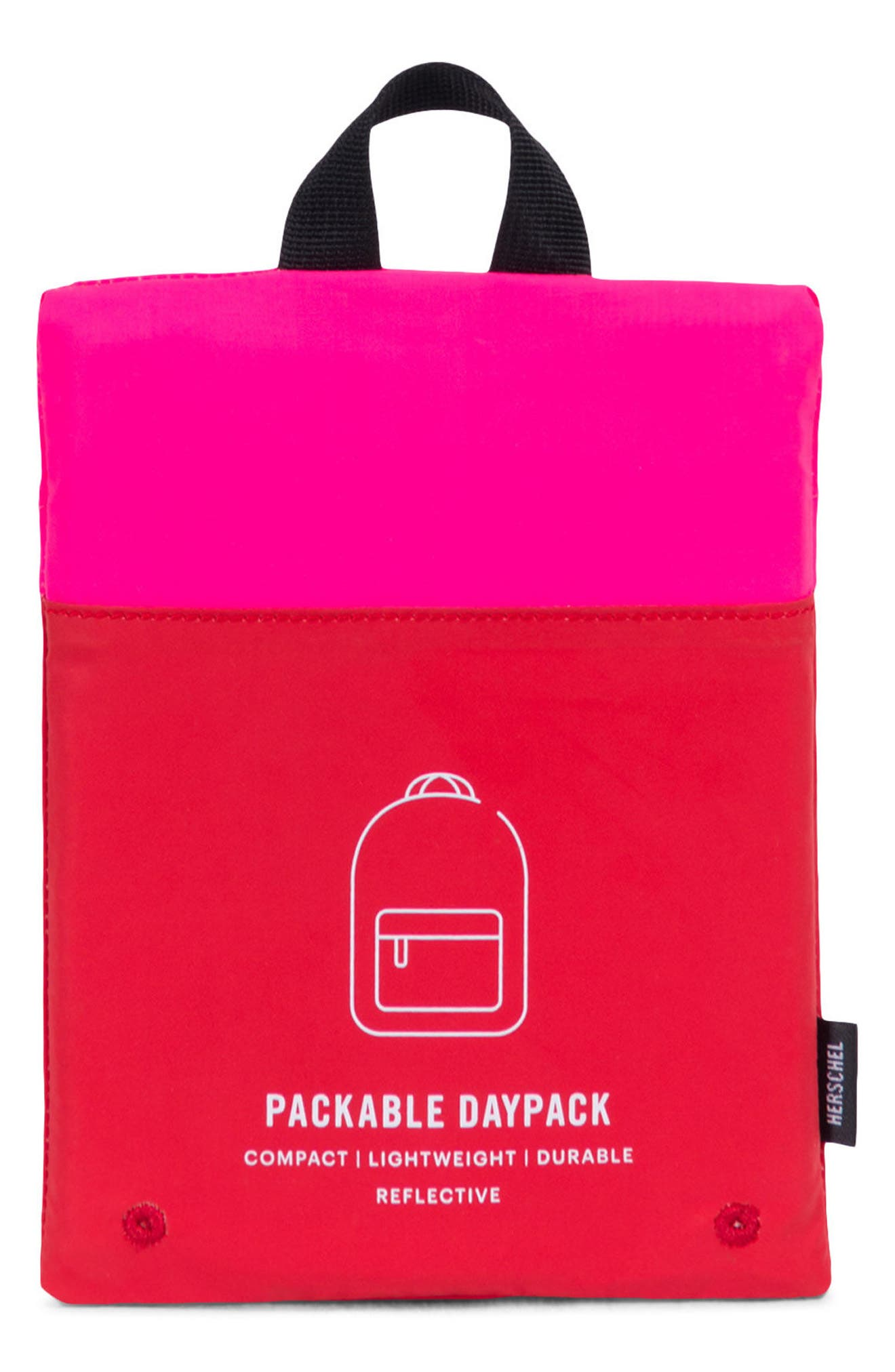Heritage Reflective Backpack,                             Alternate thumbnail 3, color,                             Neon Pink Reflective/ Red