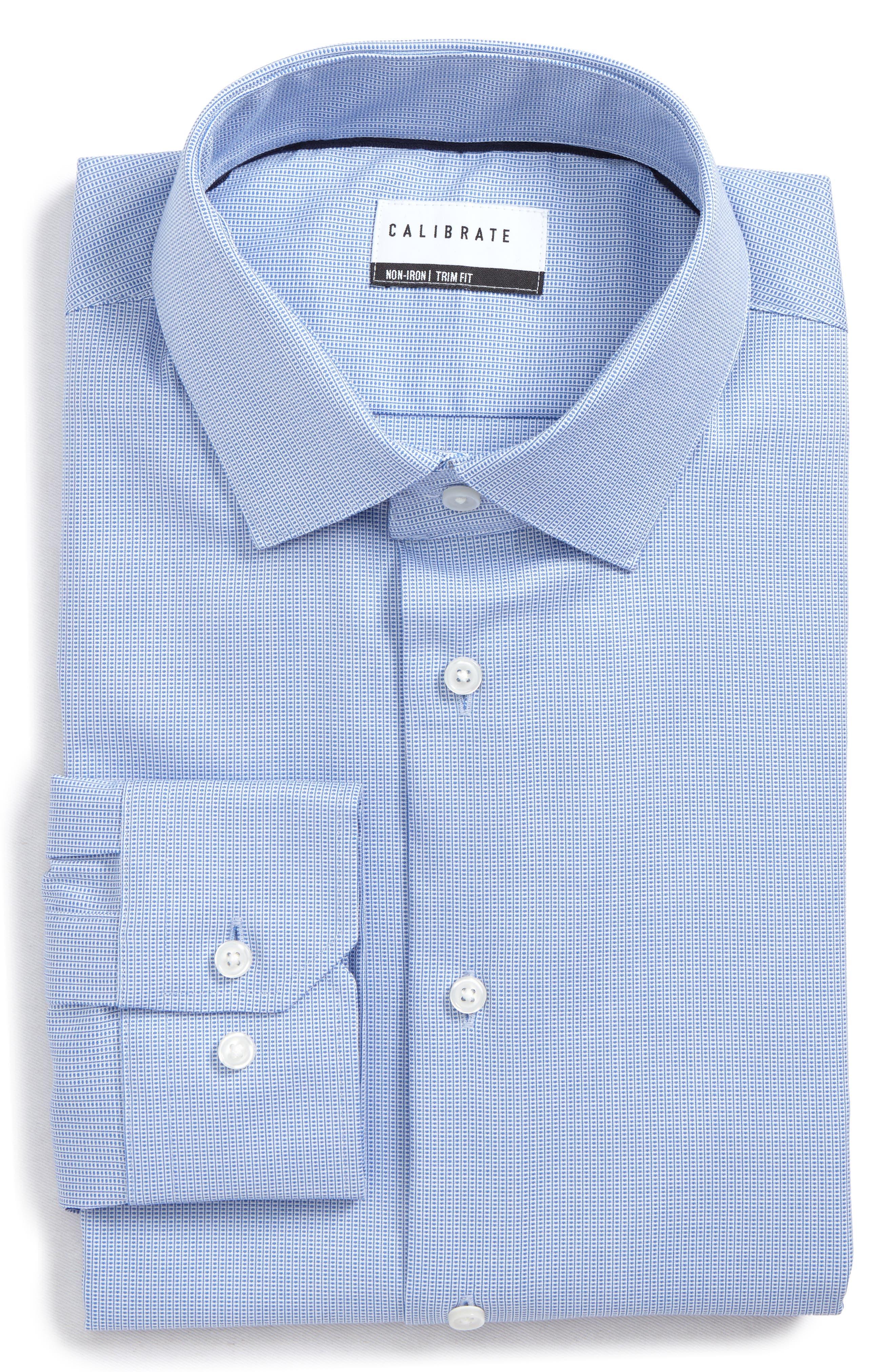 Trim Fit Non-Iron Stretch Dress Shirt,                             Alternate thumbnail 6, color,                             Blue Azurite