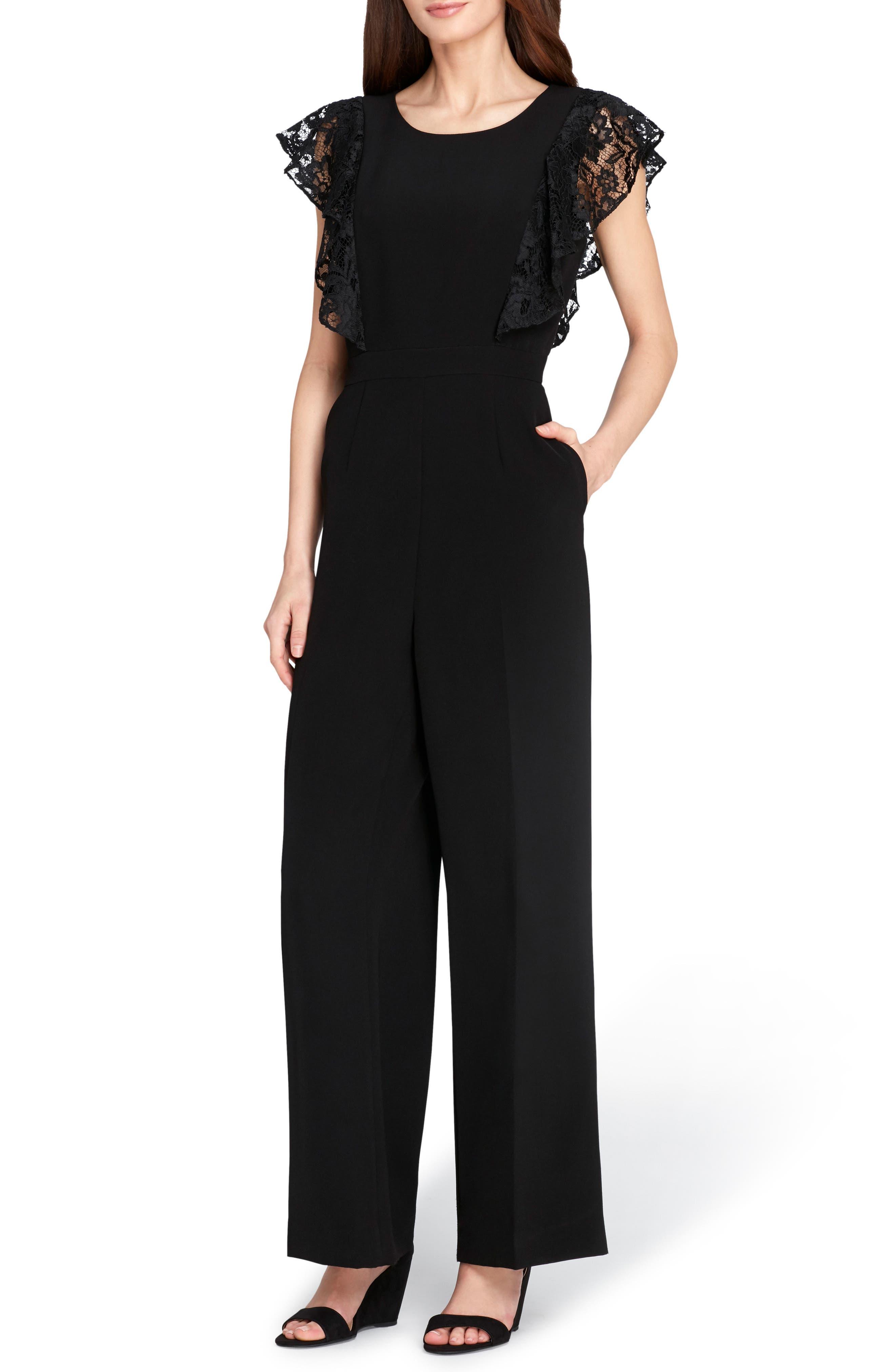 Lace Sleeve Crepe Jumpsuit,                         Main,                         color, Black