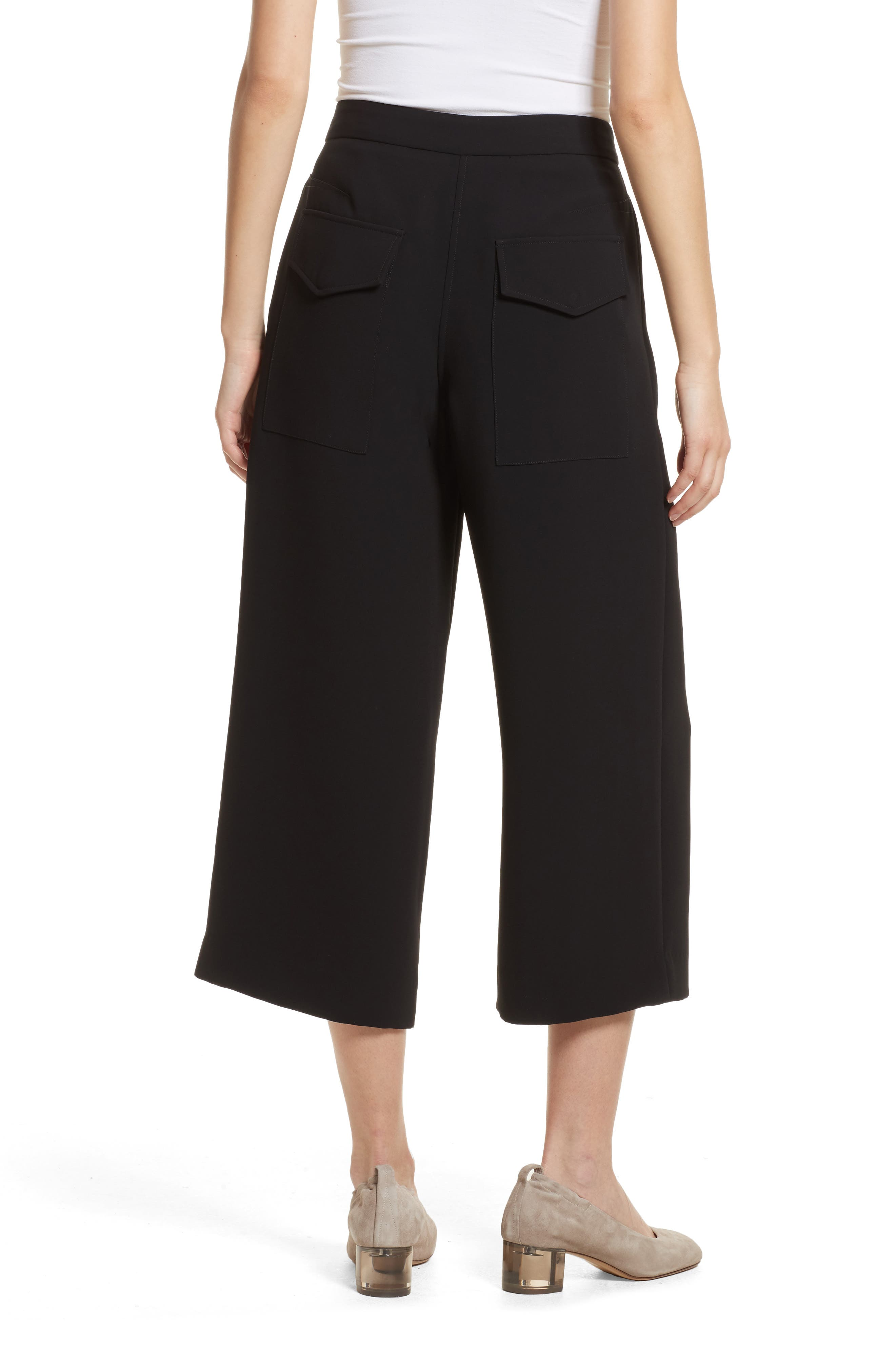 Marci Wide Leg Crop Pants,                             Alternate thumbnail 2, color,                             Black