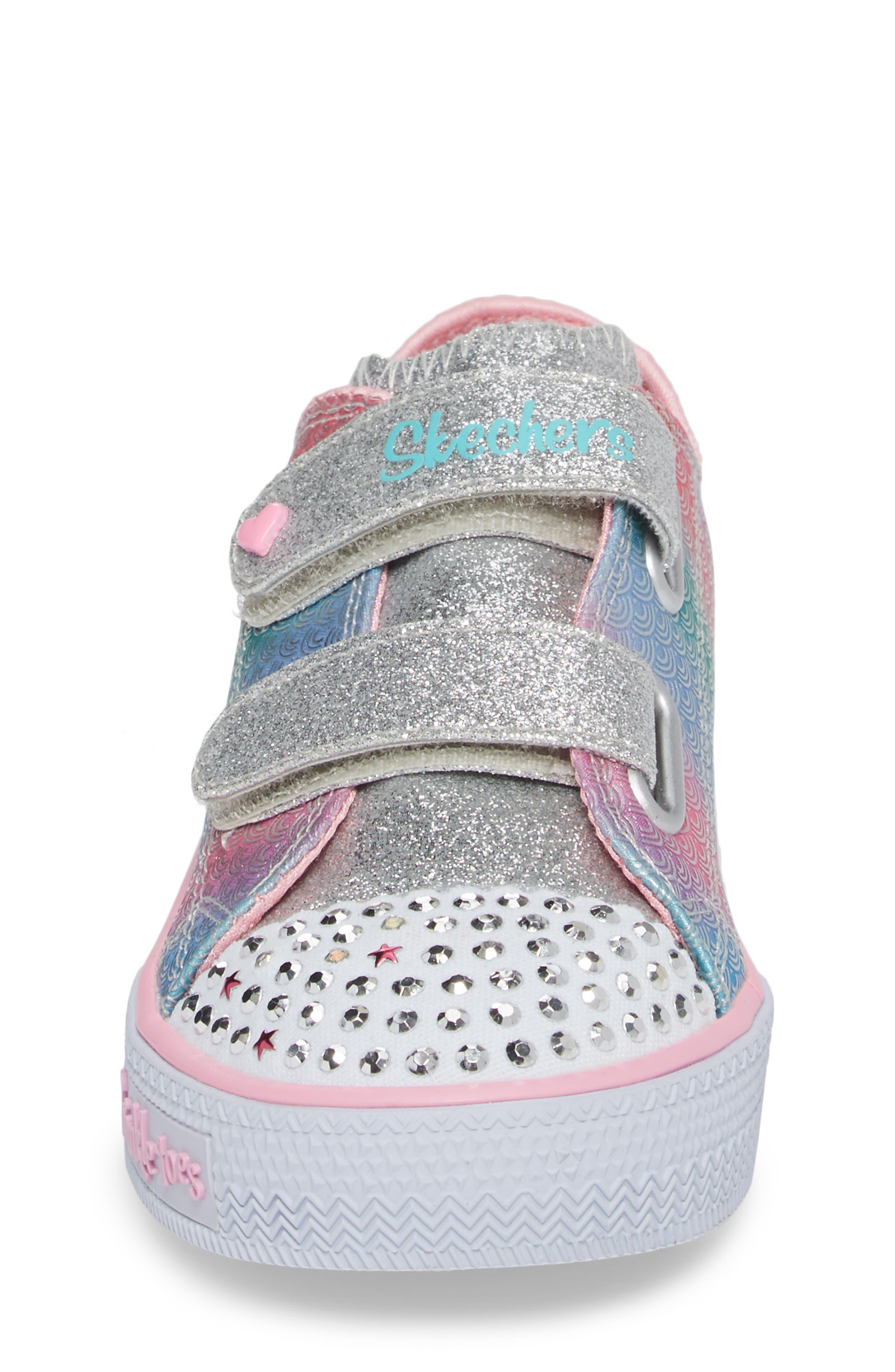 Shuffles - Itsy Bitsy Light-Up Sneaker,                             Alternate thumbnail 4, color,                             Silver/ Multi
