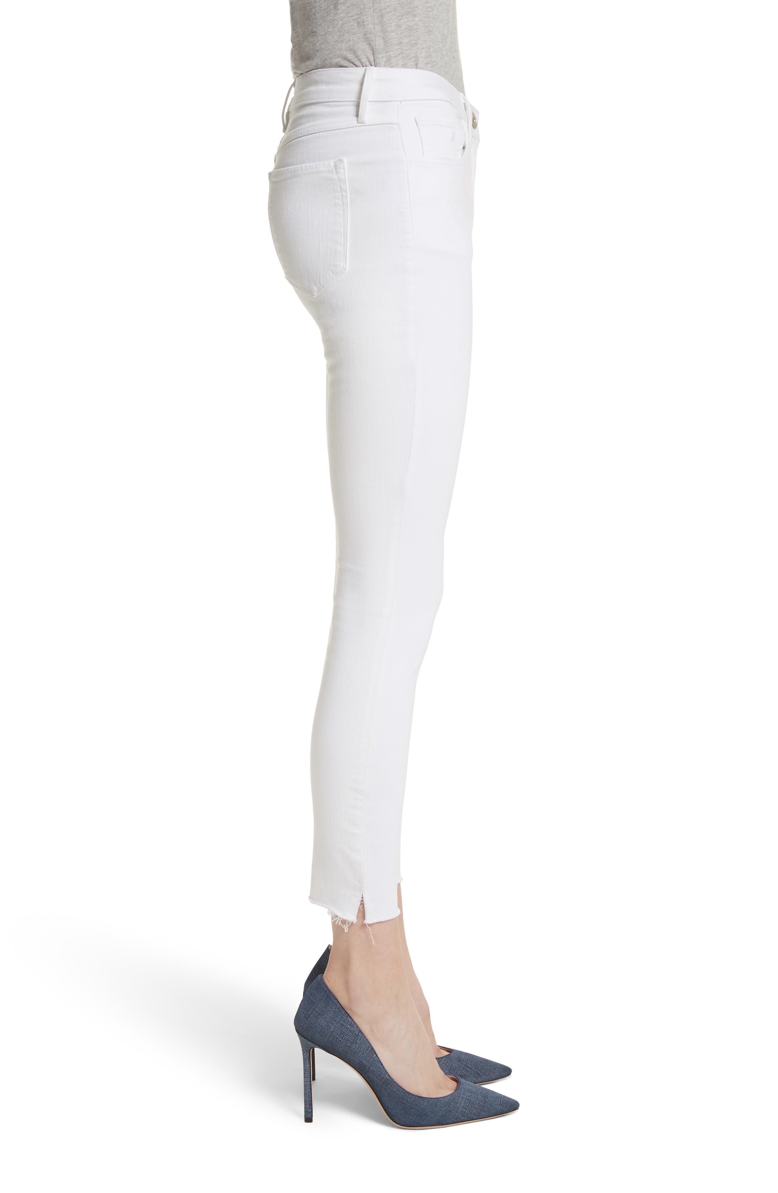 W2 Crop Skinny Jeans,                             Alternate thumbnail 3, color,                             White Tear
