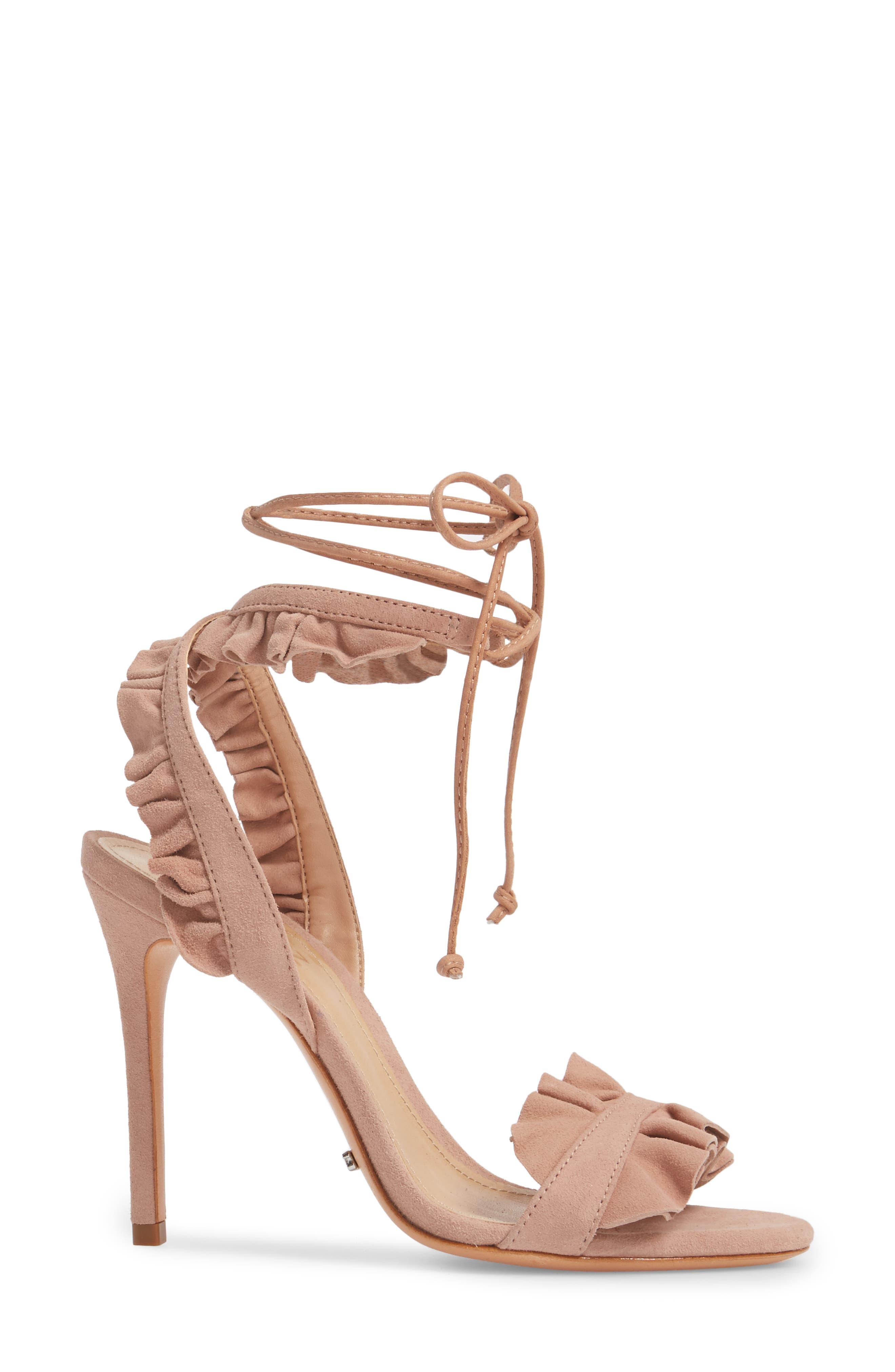 Irem Lace-UP Sandal,                             Alternate thumbnail 3, color,                             Peach Suede