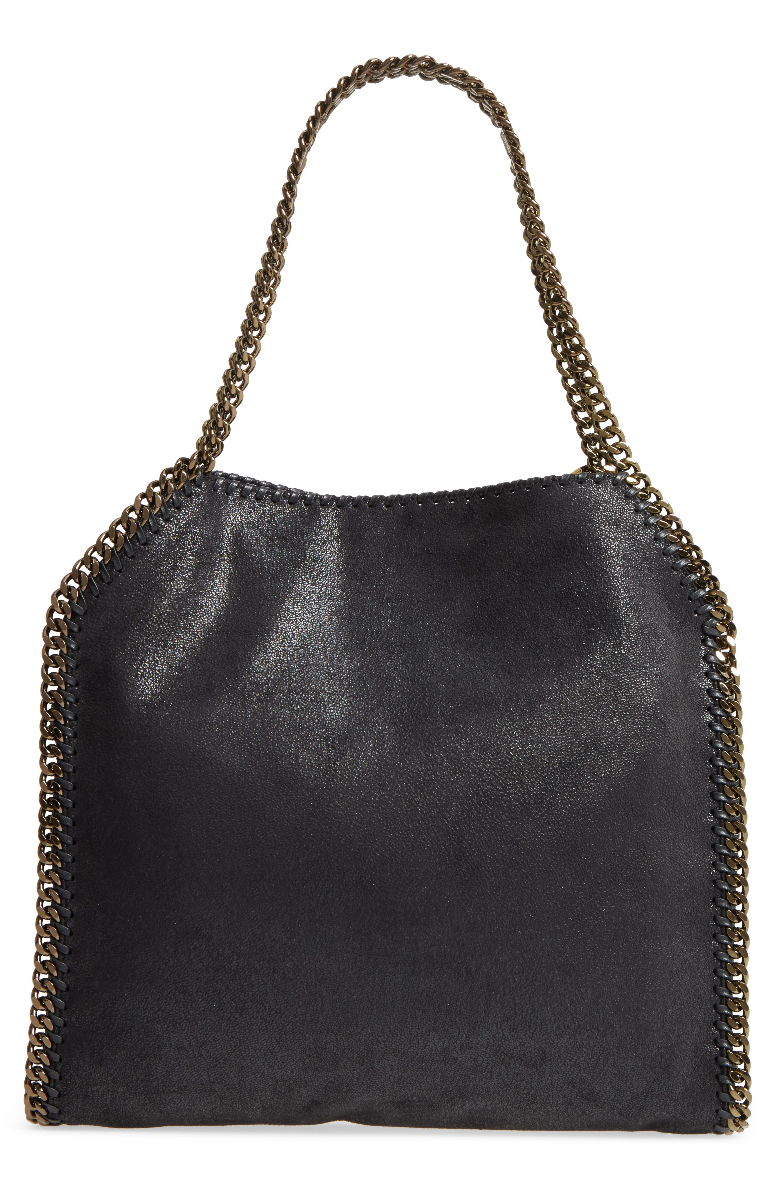 Small Falabella Shaggy Deer Star Faux Leather Tote,                             Alternate thumbnail 3, color,                             Black/ Gold