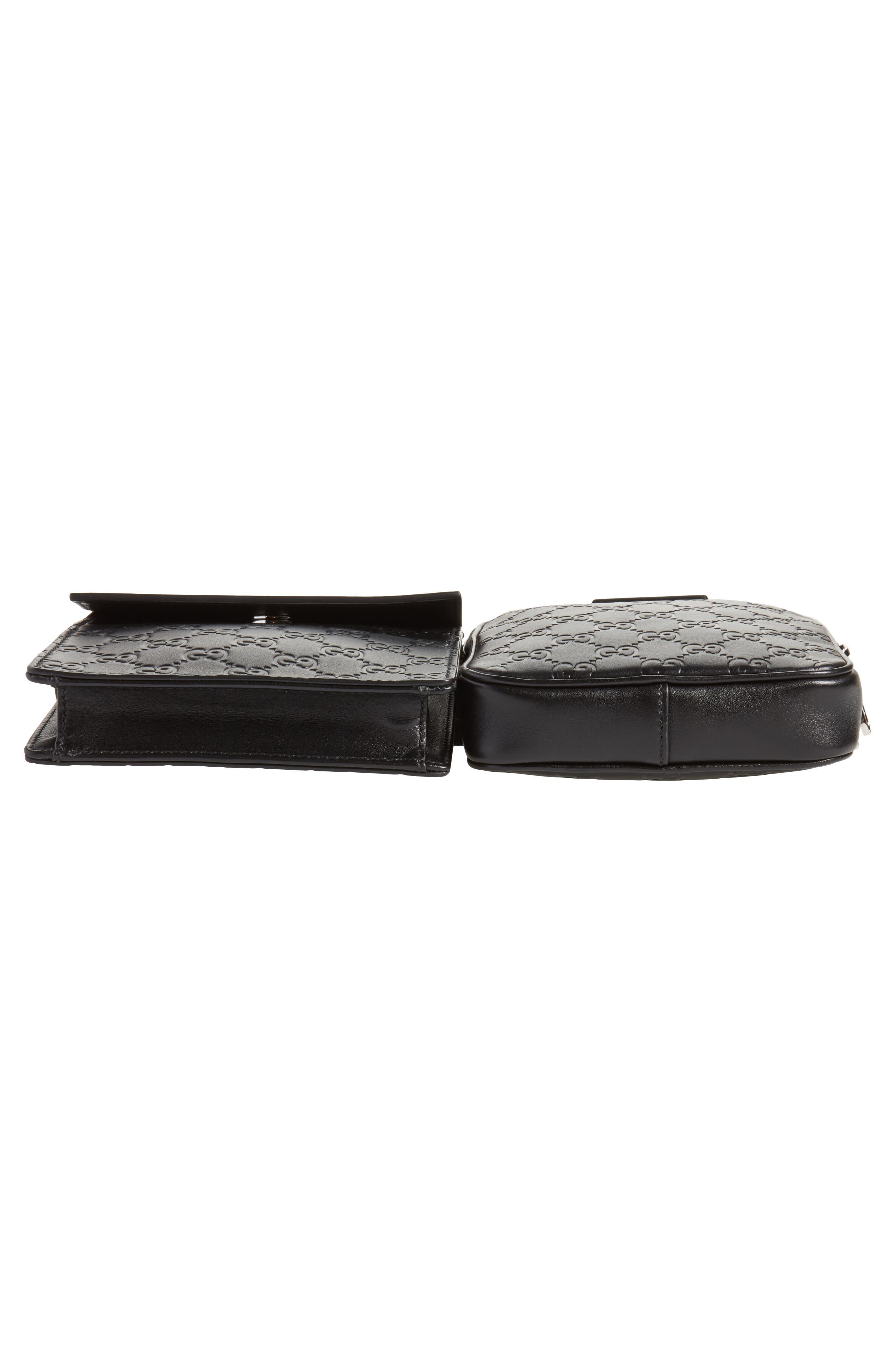Leather Belt Bag,                             Alternate thumbnail 6, color,                             Black