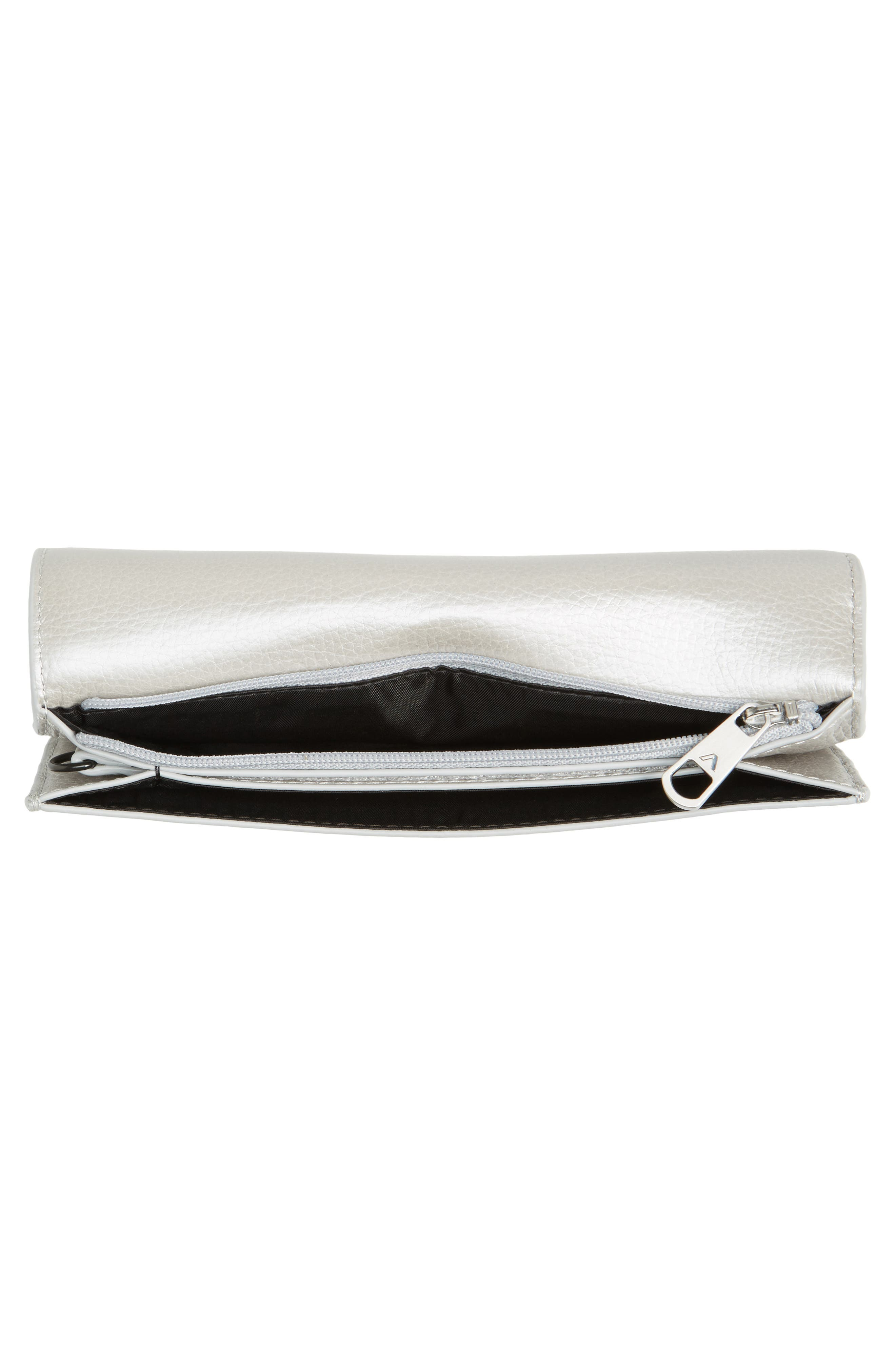 Greenwood Bristol Leather Wristlet,                             Alternate thumbnail 2, color,                             Silver