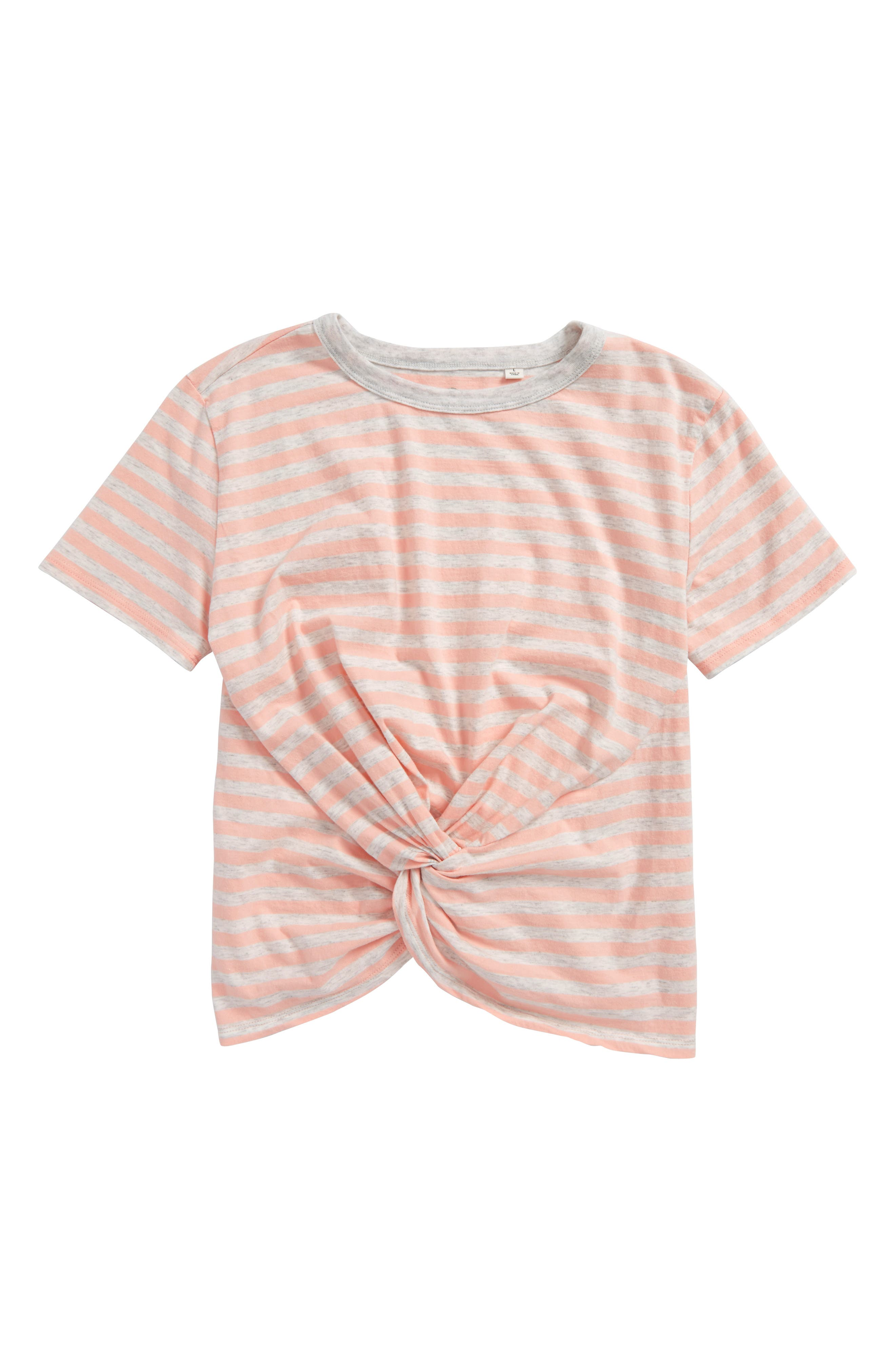 Main Image - ag adriano goldschmied kids Knot Front Stripe Tee (Big Girls)