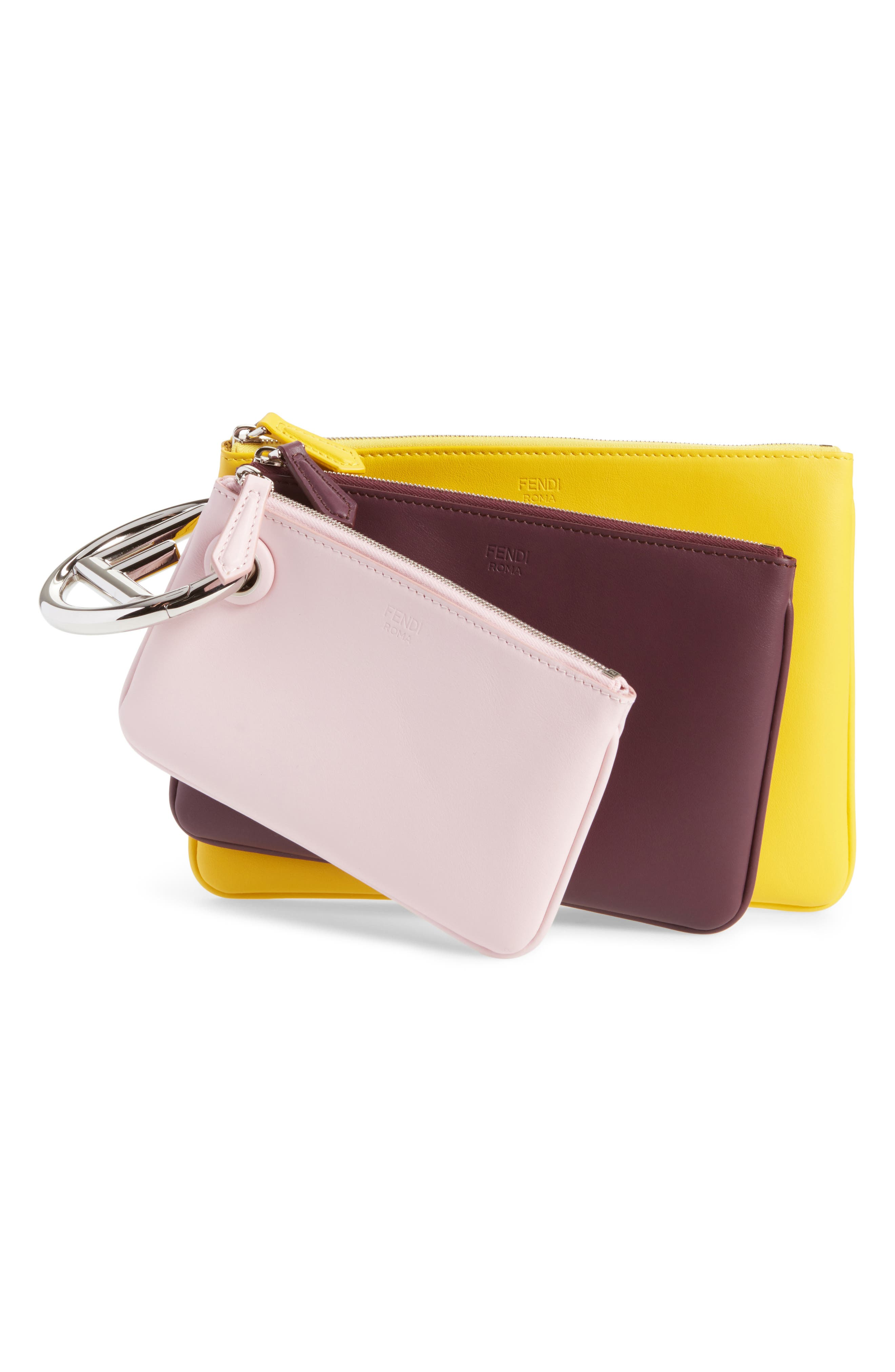 Multicolor Triplette Set of Three Leather Pouches,                         Main,                         color, Pink/ Burgundy/ Yellow