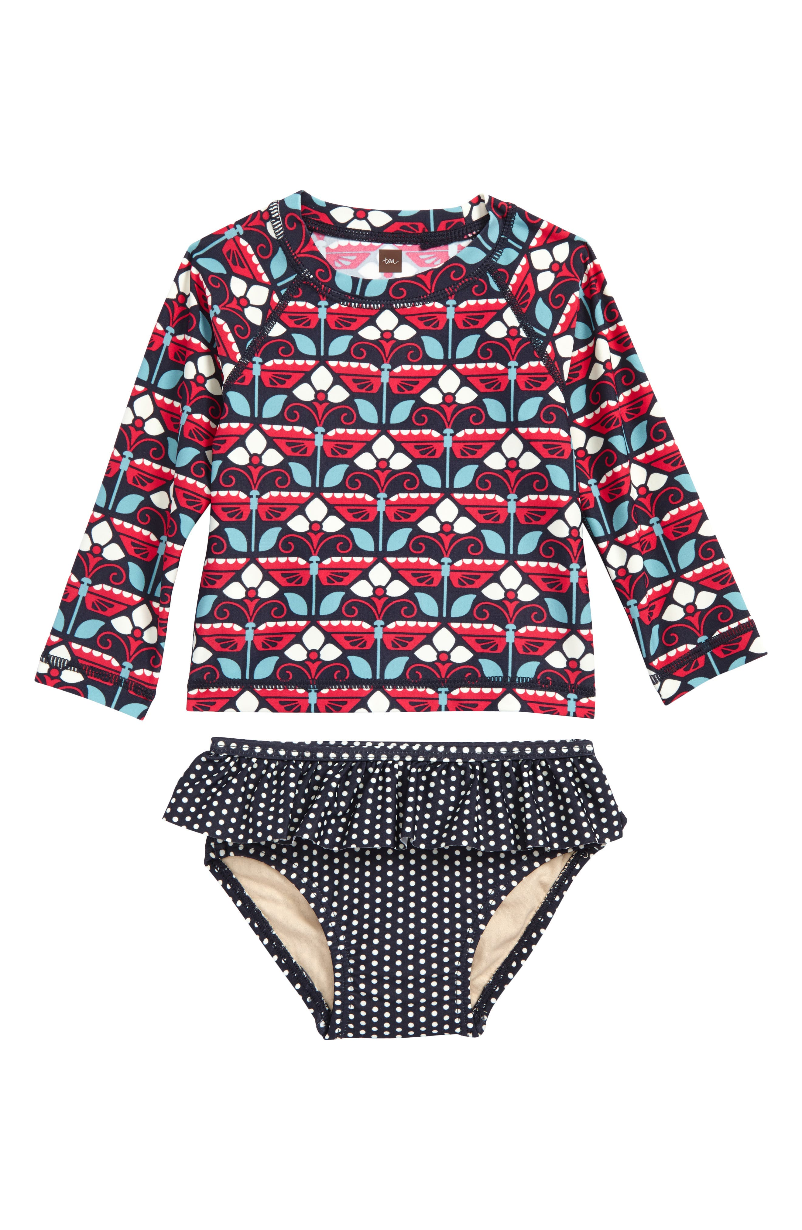 Kaleidoscope Two-Piece Rashguard Swimsuit,                             Main thumbnail 1, color,                             Indigo