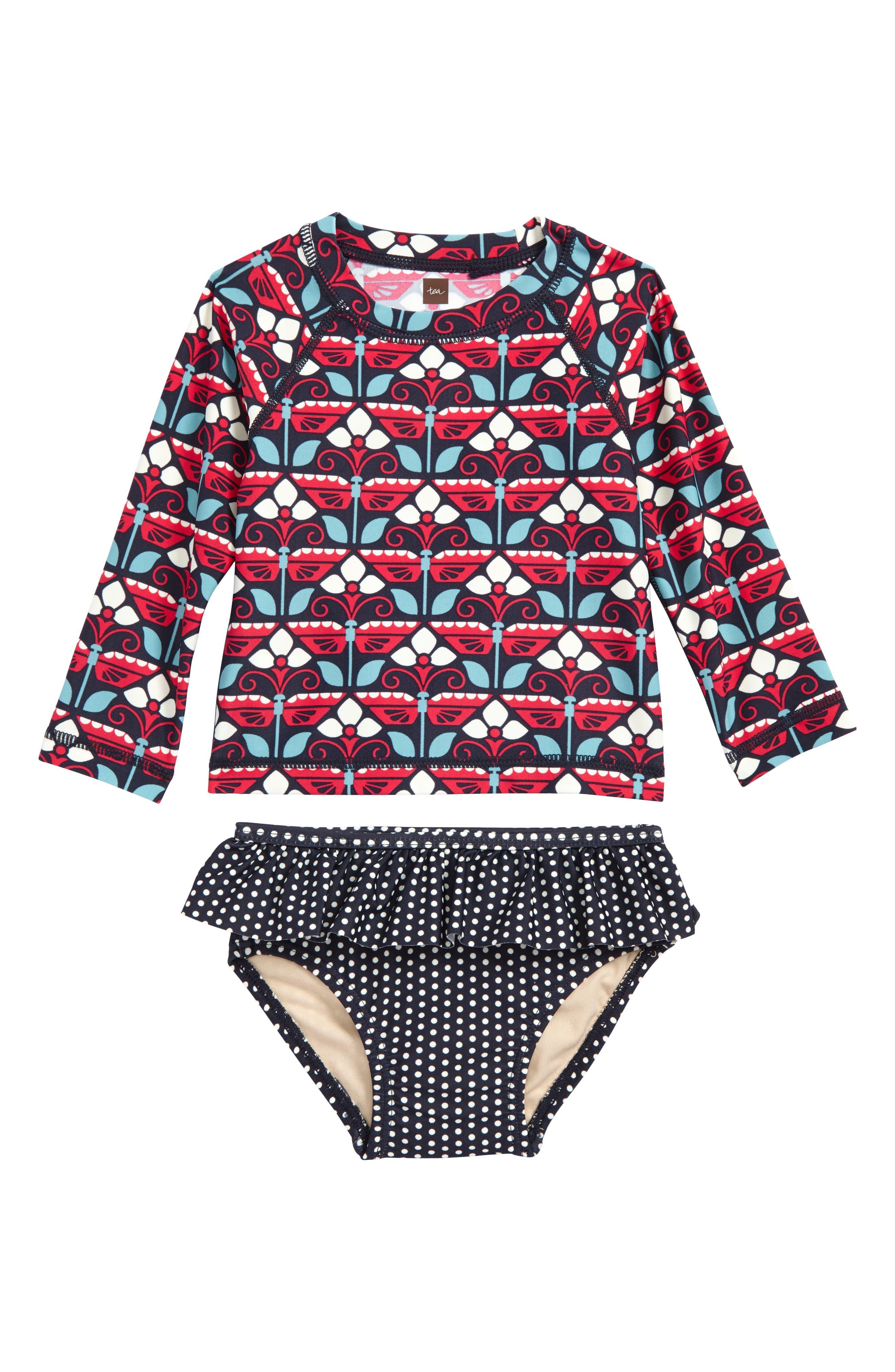Kaleidoscope Two-Piece Rashguard Swimsuit,                         Main,                         color, Indigo