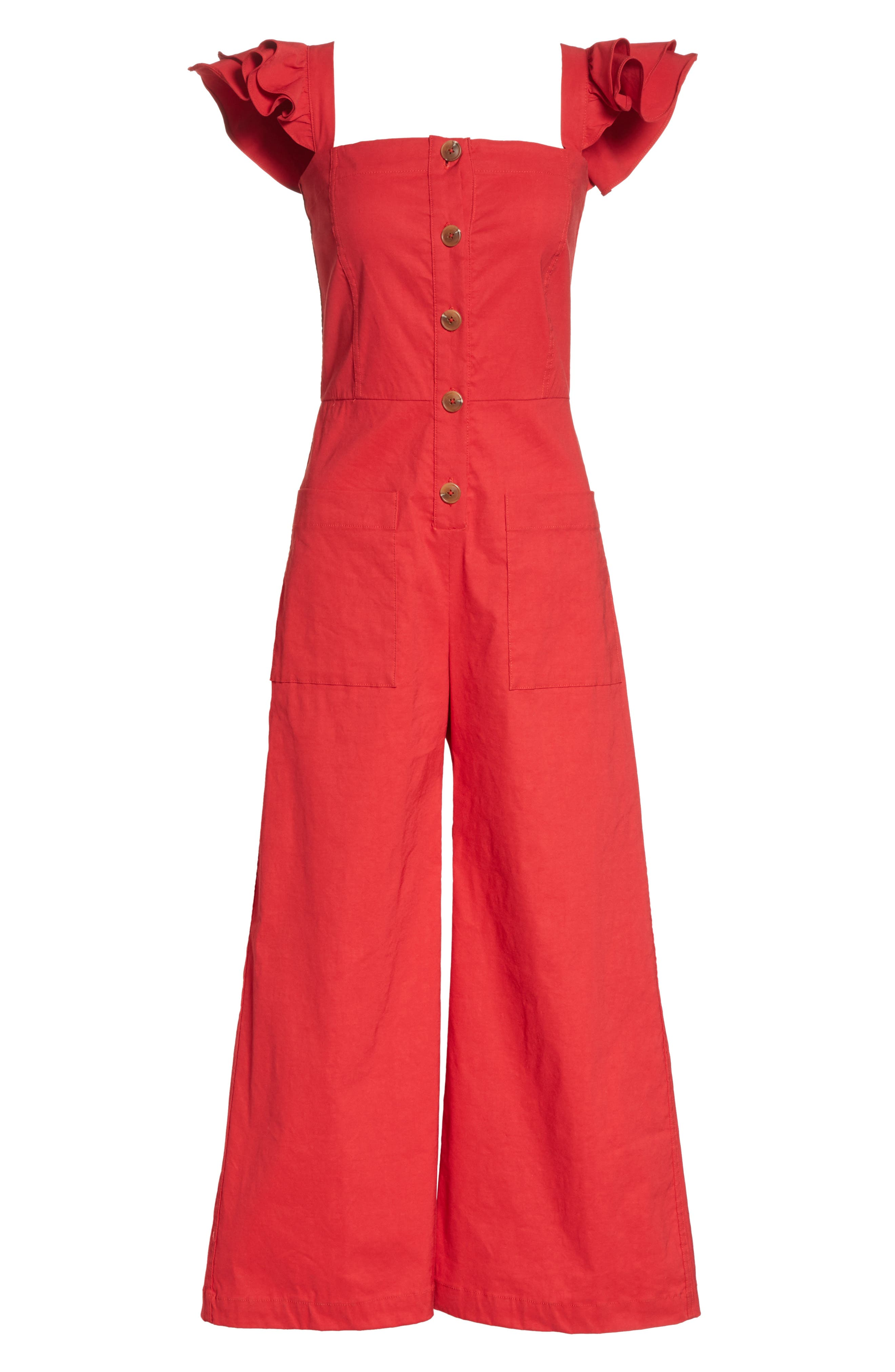 Callie Ruffle Strap Jumpsuit,                             Alternate thumbnail 6, color,                             Red