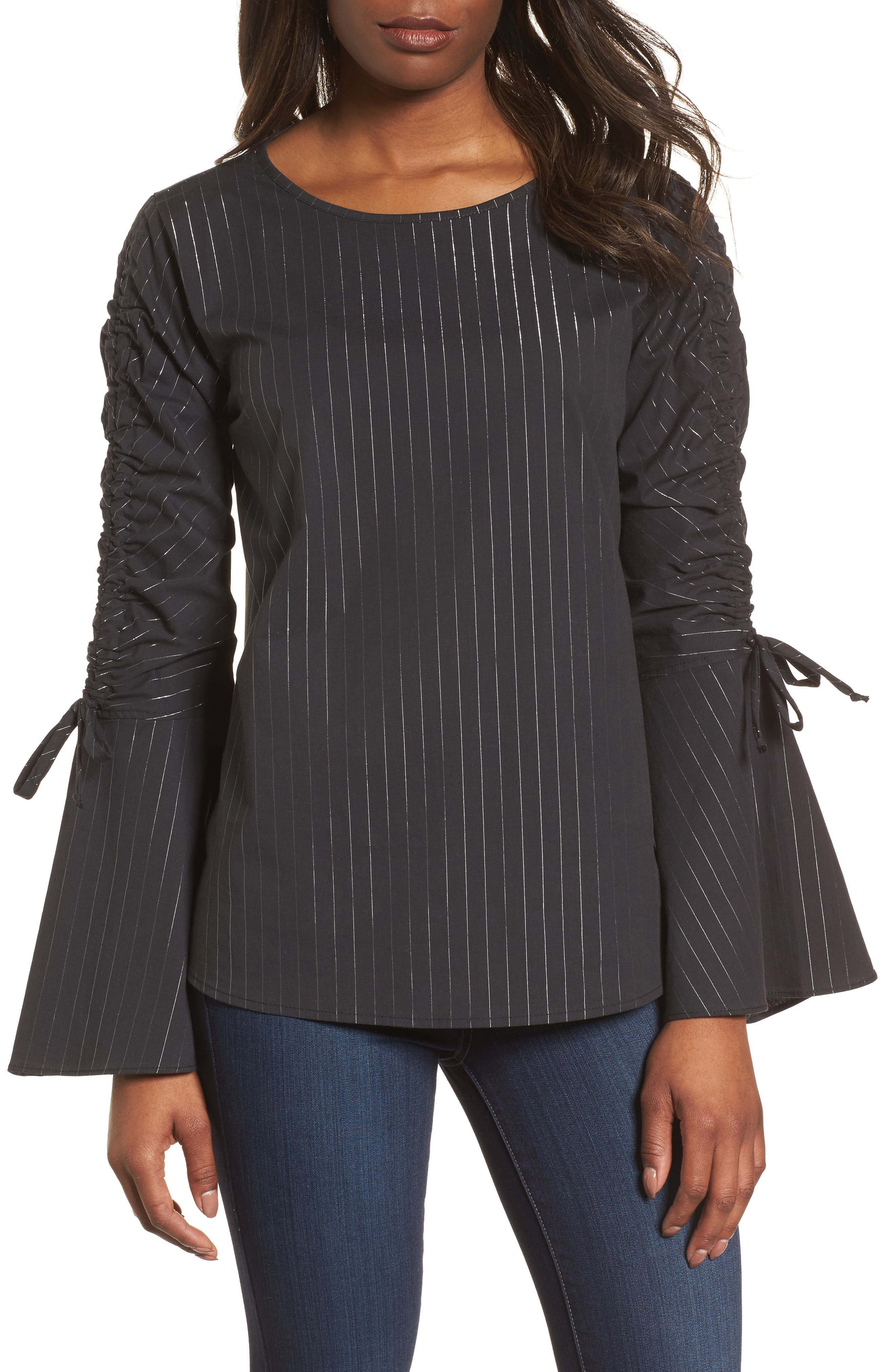 Ruched Sleeve Stripe Top,                             Main thumbnail 1, color,                             Black Wide Lurex Stripe
