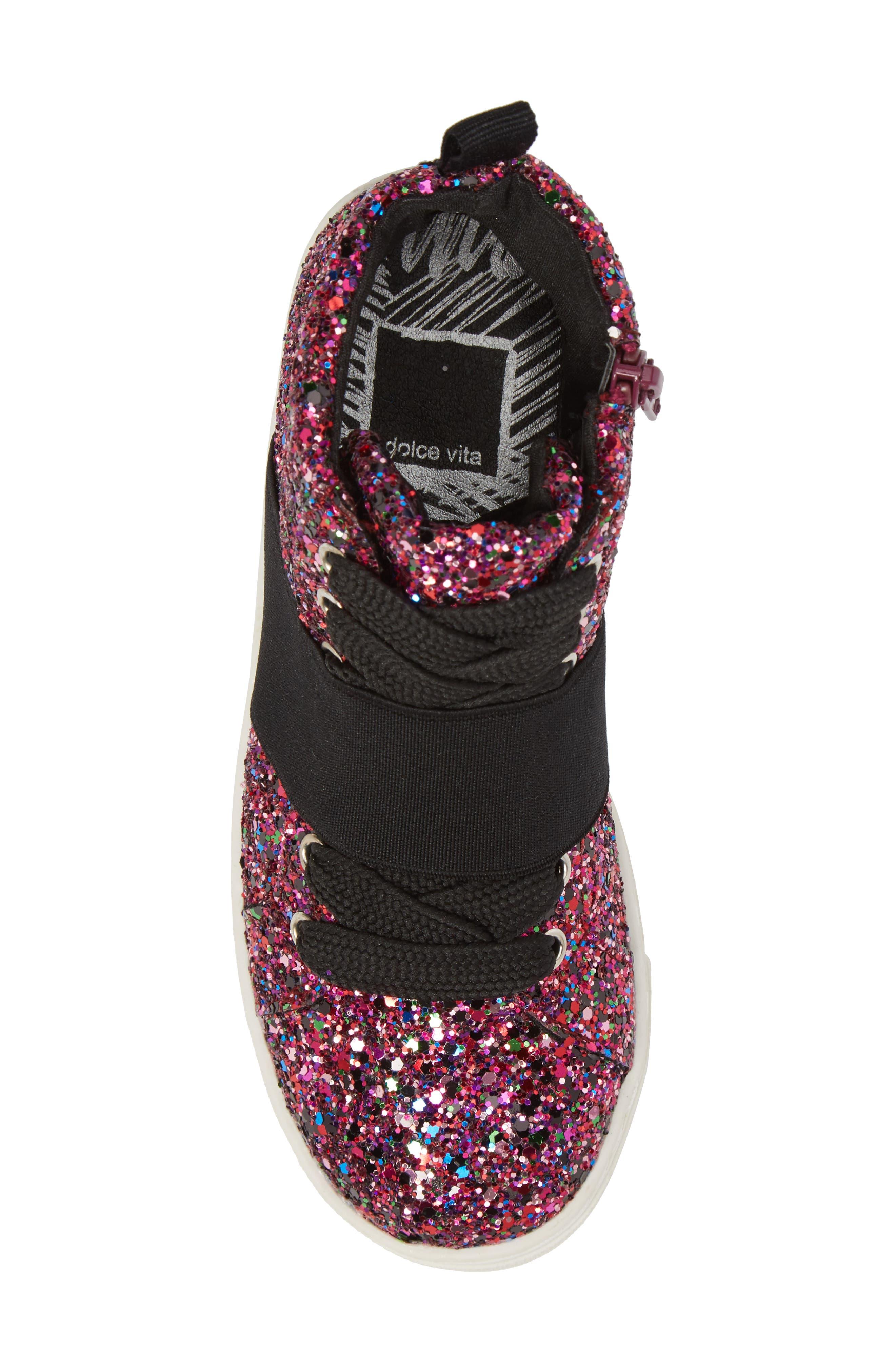 Zoa High Top Sneaker,                             Alternate thumbnail 5, color,                             Fuchsia Glitter