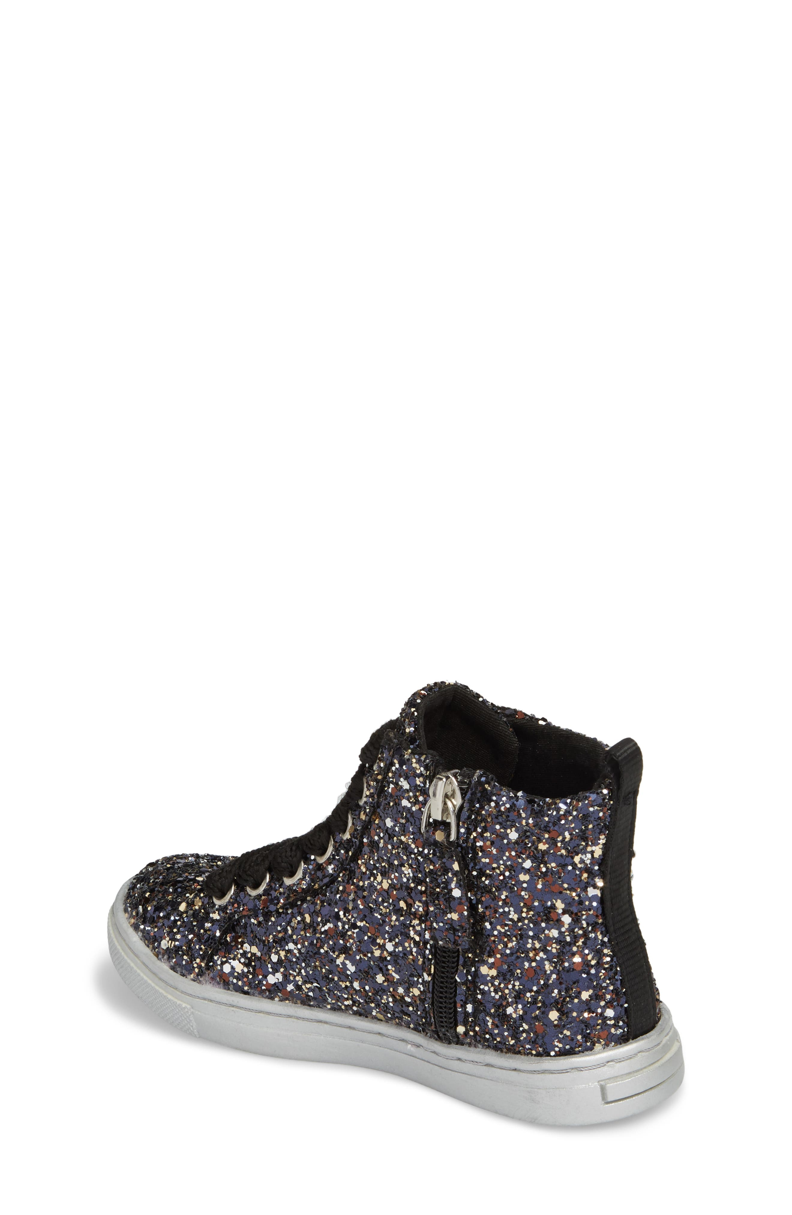 Zaine Glittery High Top Sneaker,                             Alternate thumbnail 2, color,                             Black Multi Glitter