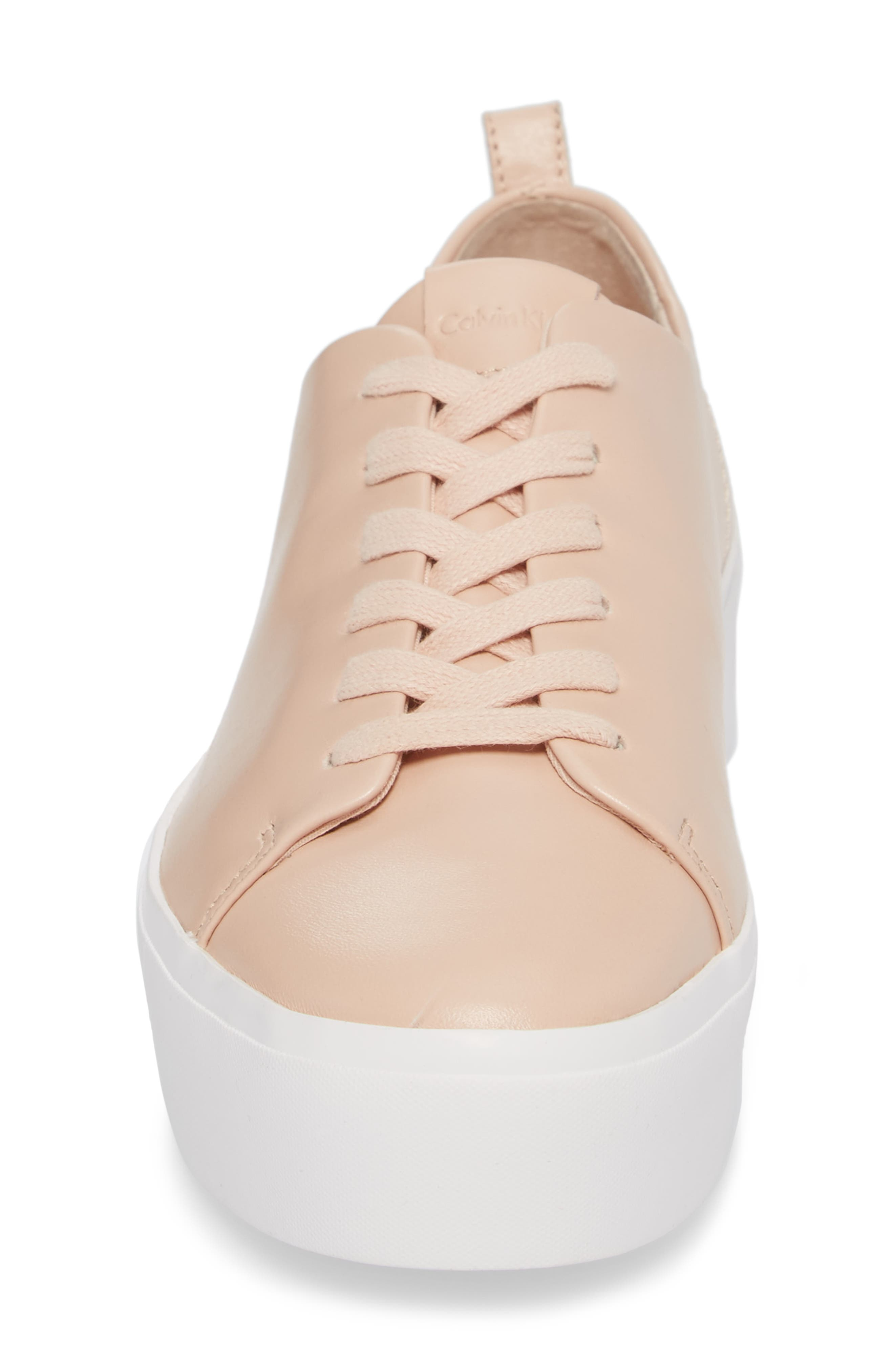 Janet Platform Sneaker,                             Alternate thumbnail 4, color,                             Pink Leather
