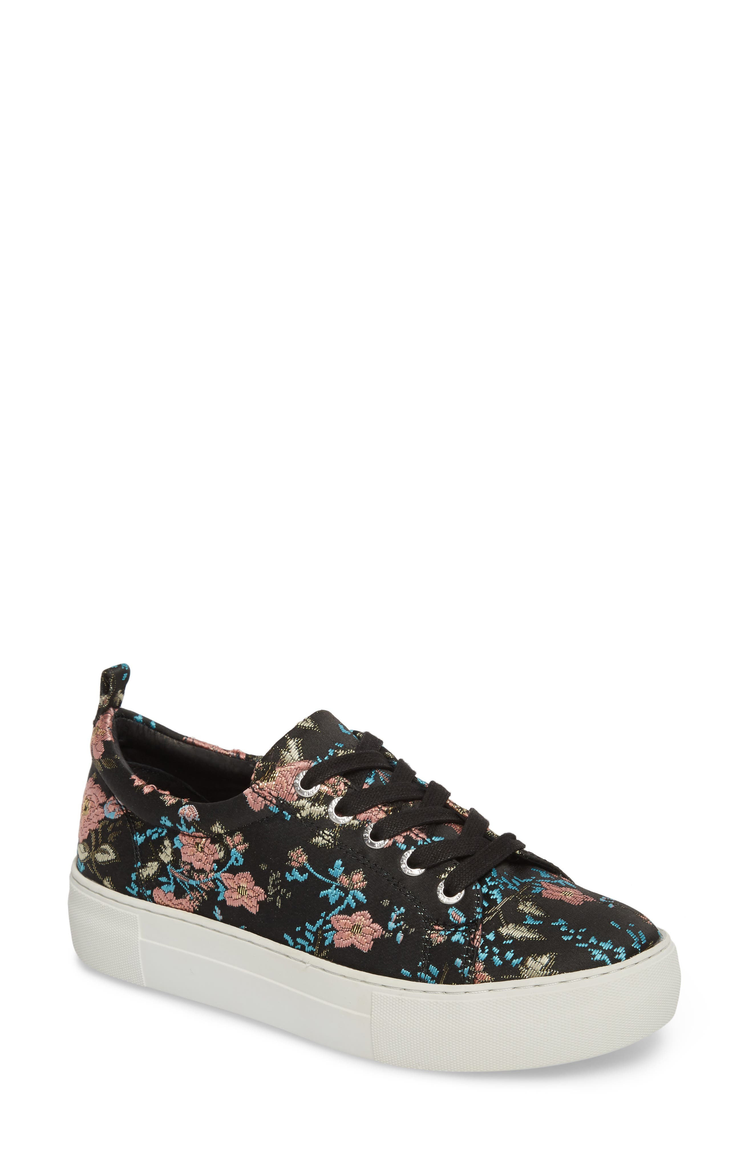 Assure Embroidered Platform Sneaker,                             Main thumbnail 1, color,                             Black Printed Fabric
