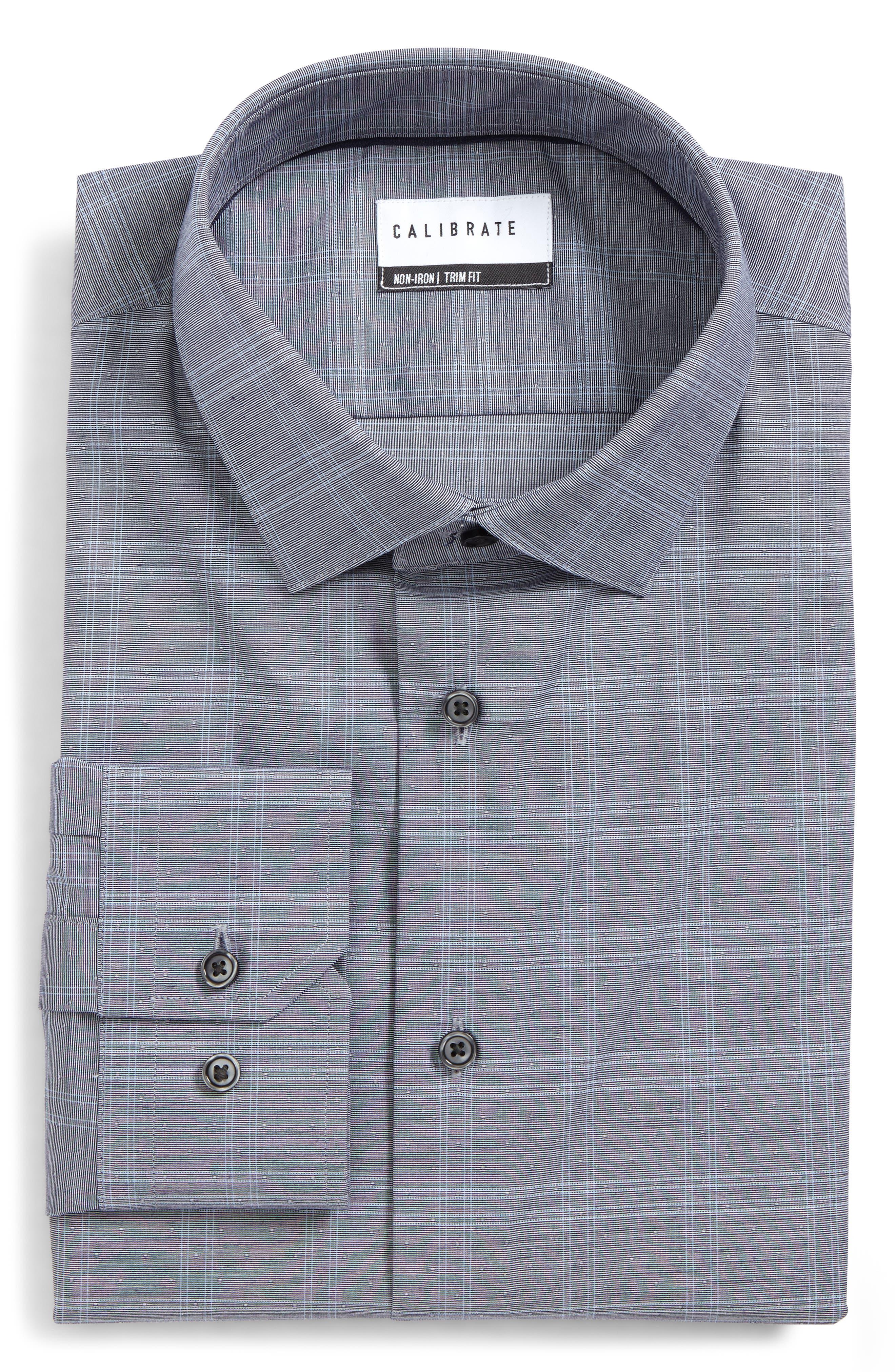 Trim Fit Non-Iron Stretch Check Dress Shirt,                             Main thumbnail 1, color,                             Navy Peacoat