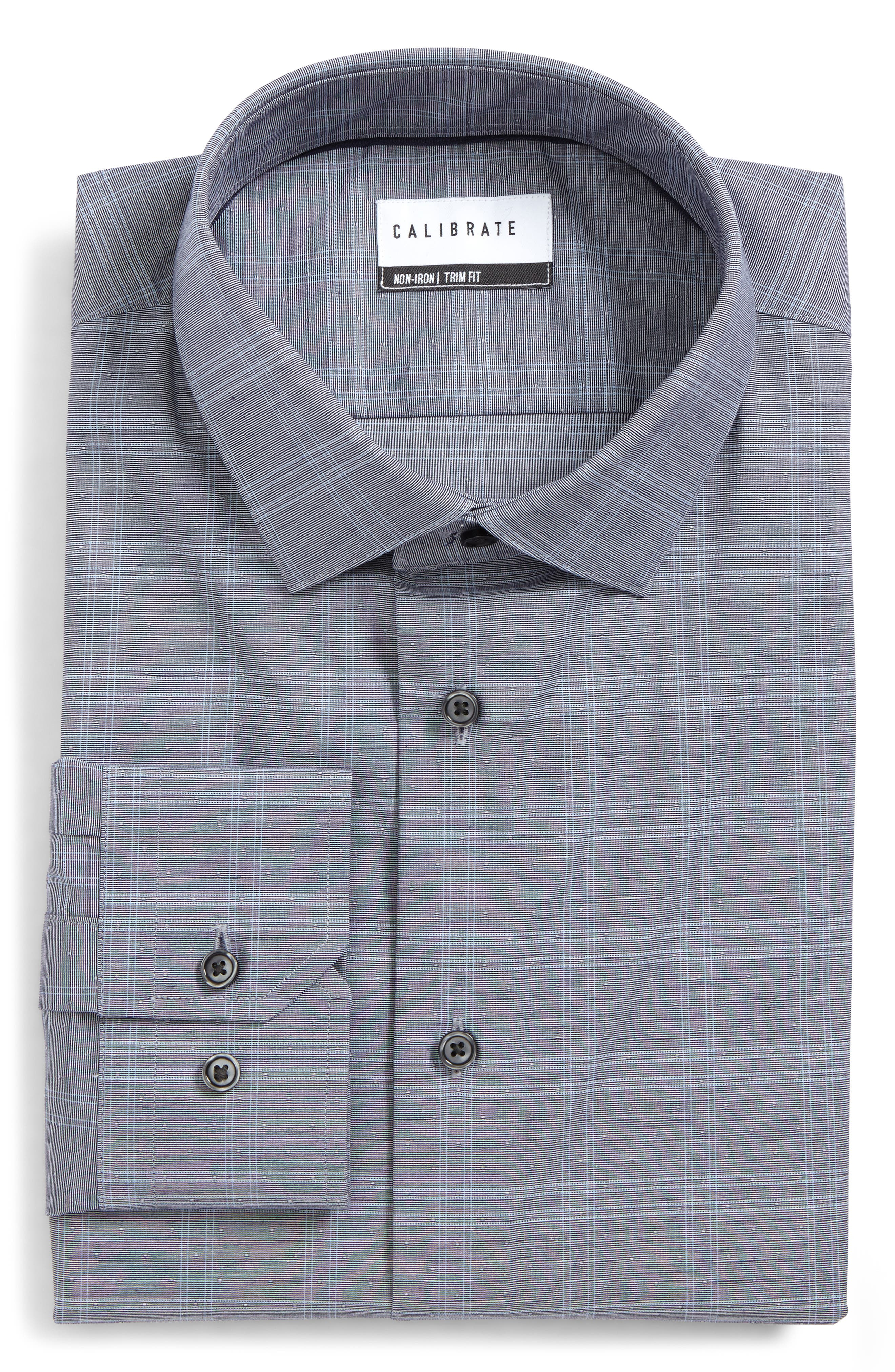 Trim Fit Non-Iron Stretch Check Dress Shirt,                         Main,                         color, Navy Peacoat
