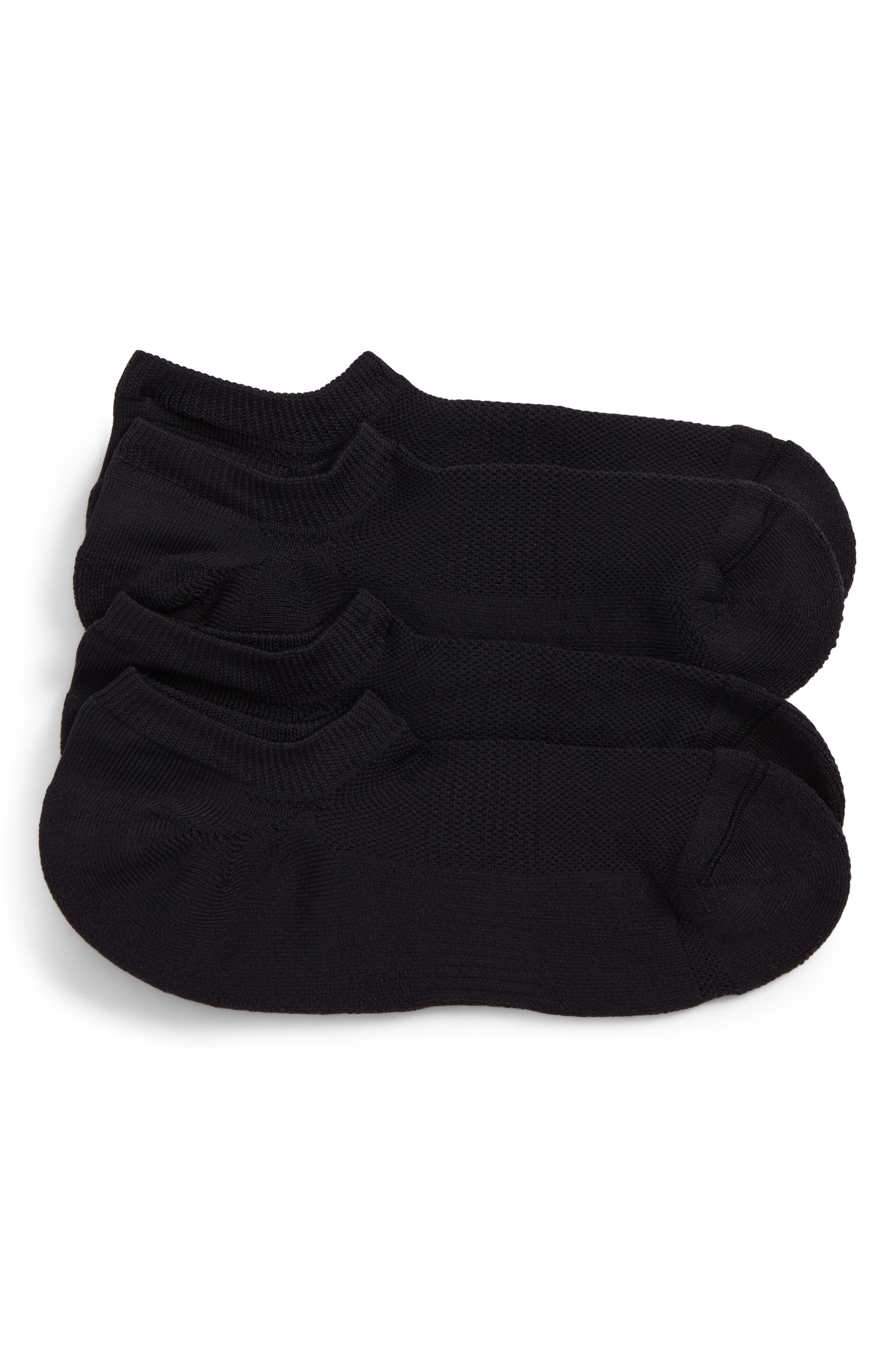 Tech-Smart 2-Pack No-Show Socks,                             Main thumbnail 1, color,                             Black