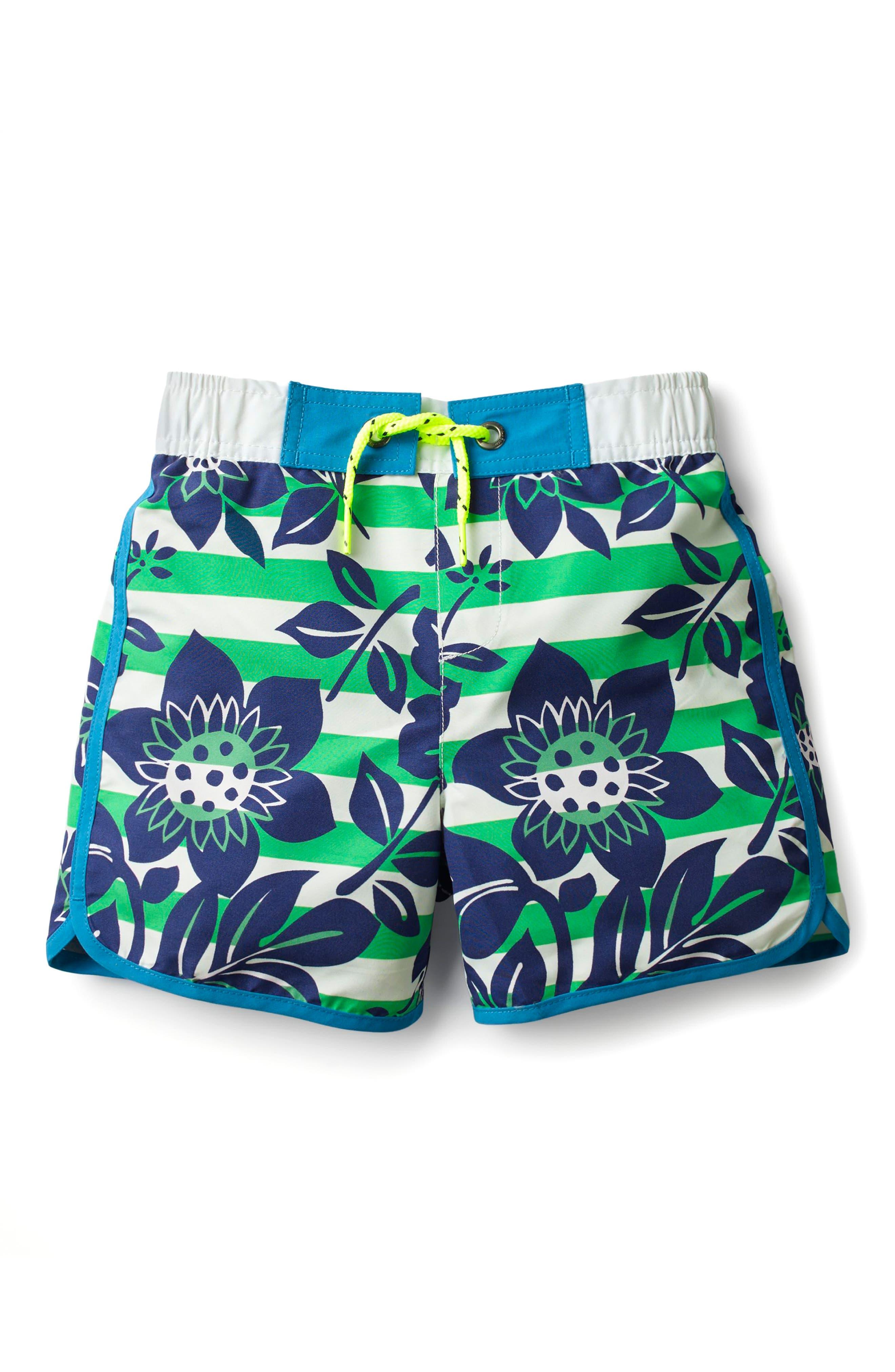 Hawaiian Print Board Shorts,                             Main thumbnail 1, color,                             Astro Green/ Ecru Hawaiian