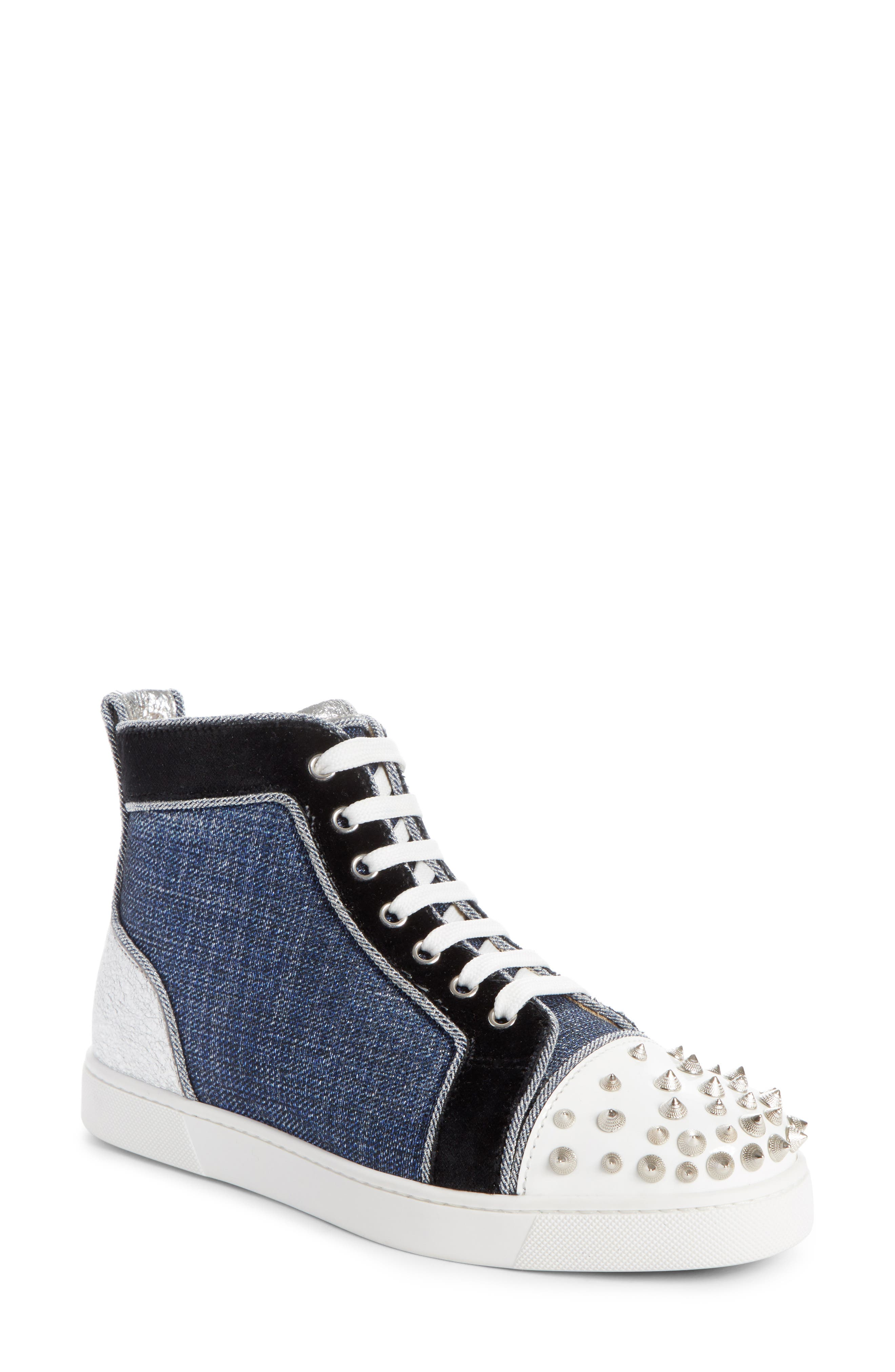 Lou Degra Spiked High Top Sneaker,                         Main,                         color, Denim/ Silver