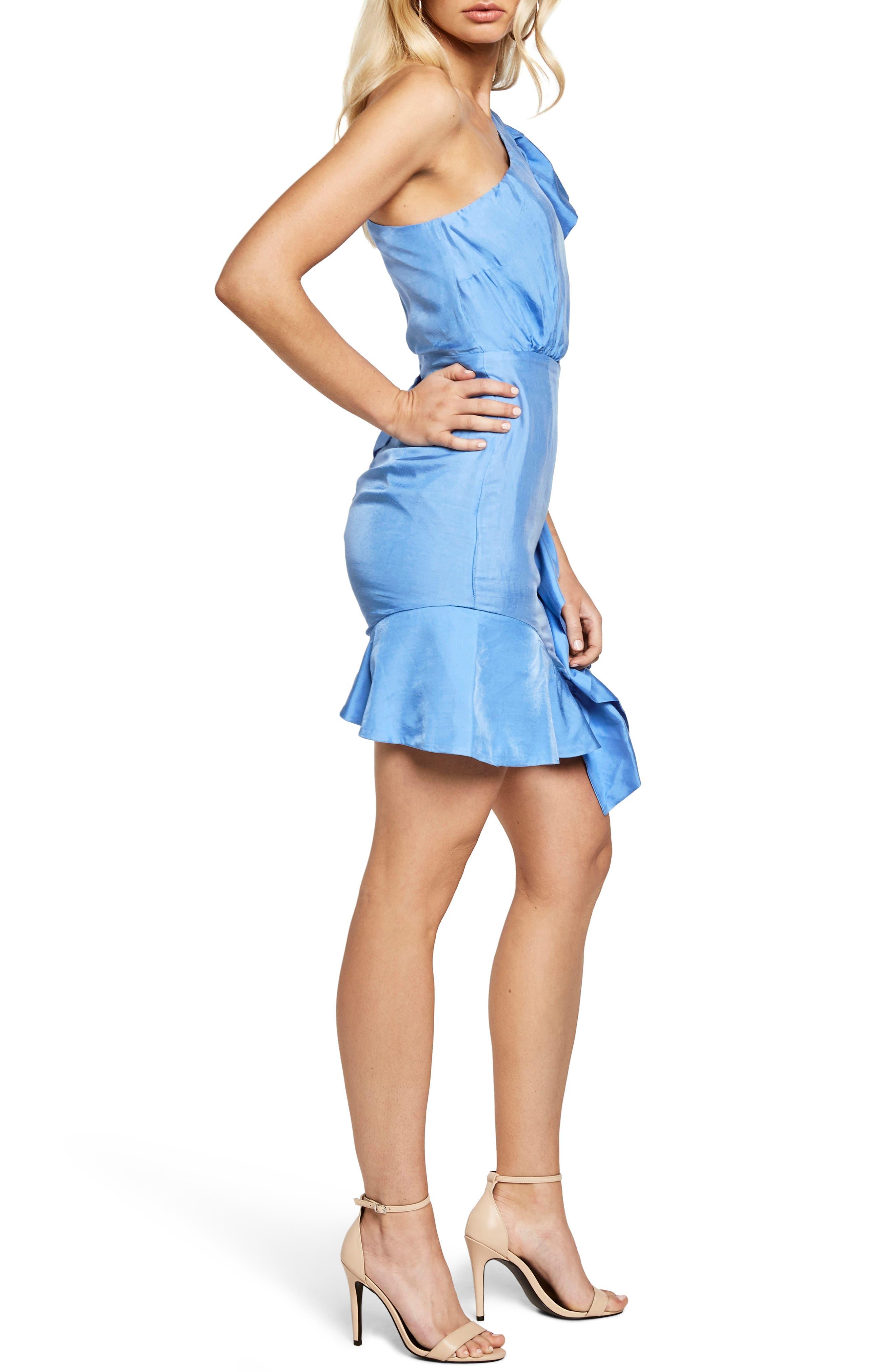 Lucia Frill One-Shoulder Dress,                             Alternate thumbnail 3, color,                             Marina Blue