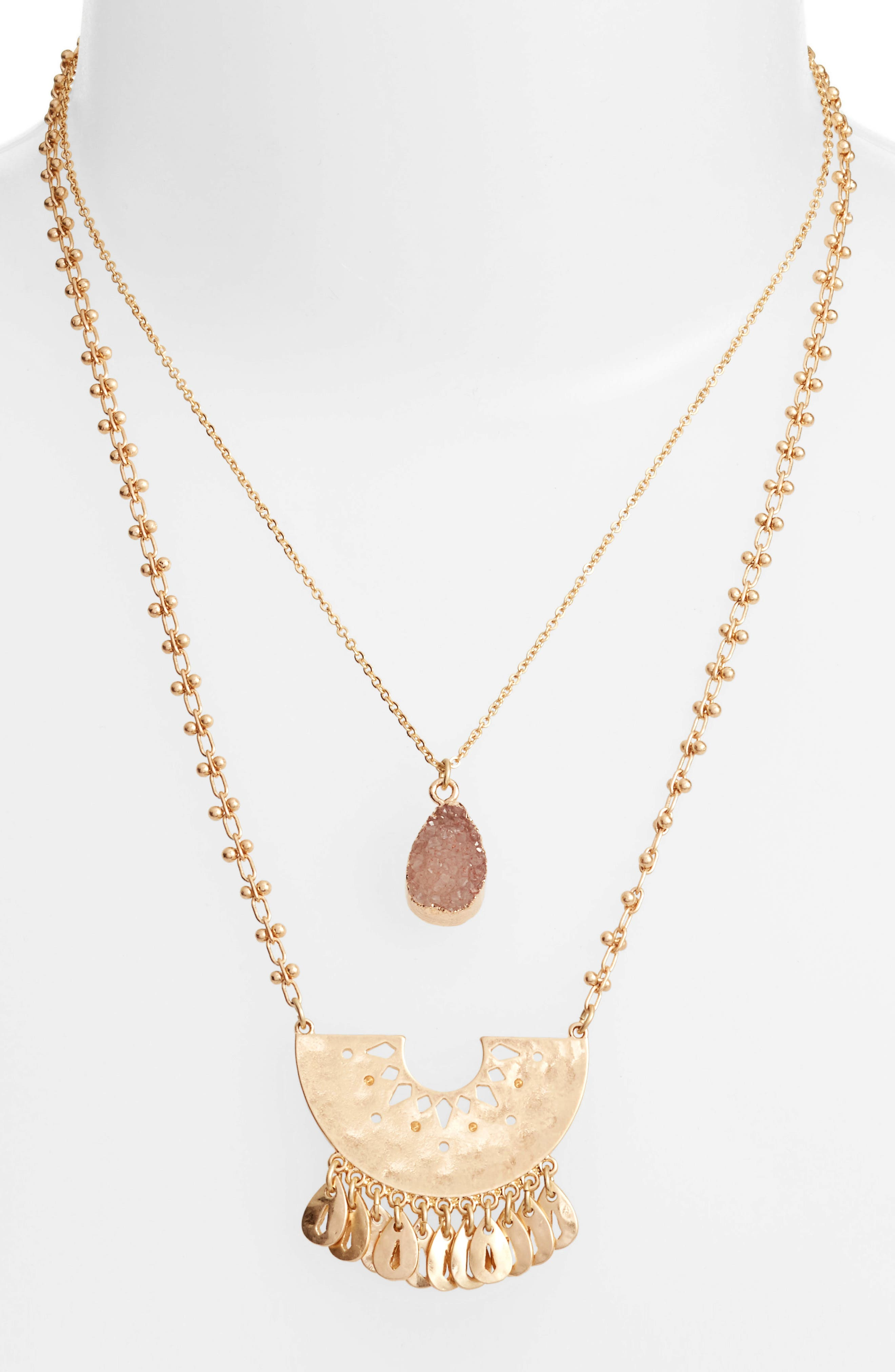 Layered Drusy Pendant Necklace,                             Main thumbnail 1, color,                             Peach- Gold