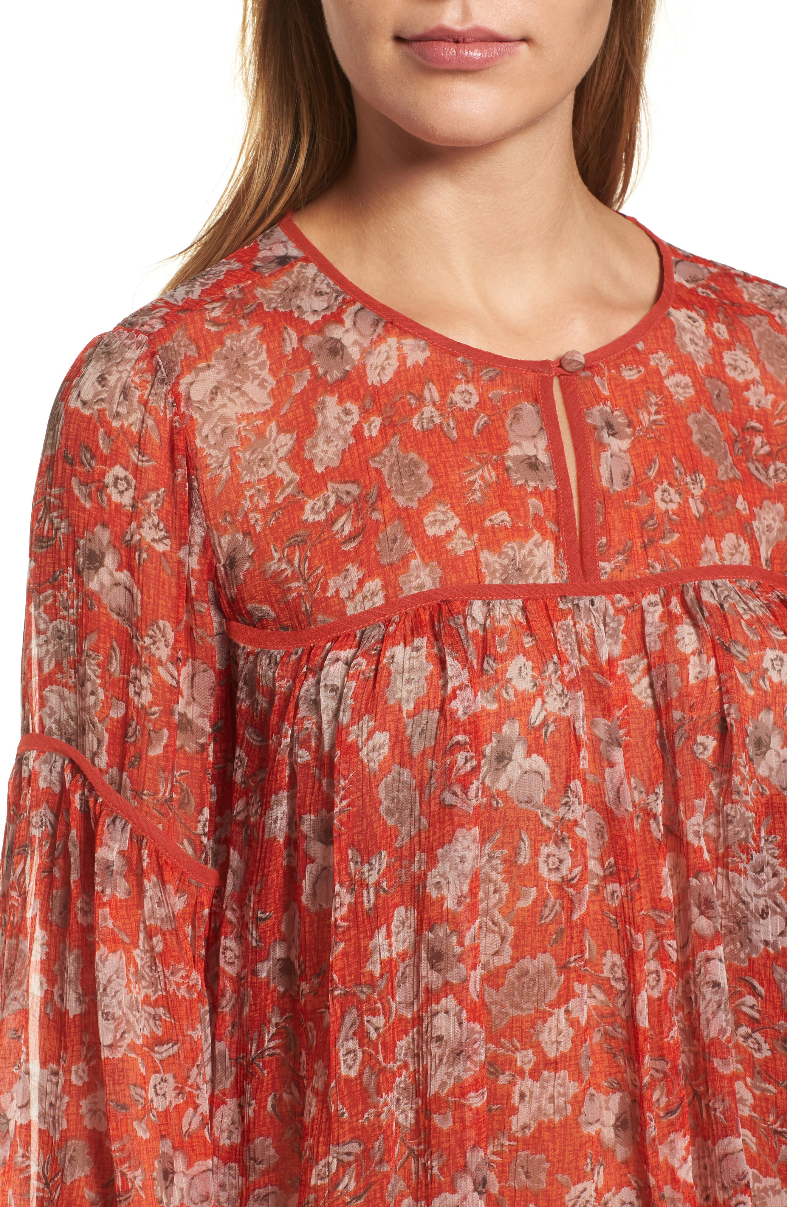 Floral Print Bell Sleeve Top,                             Alternate thumbnail 4, color,                             Red Multi