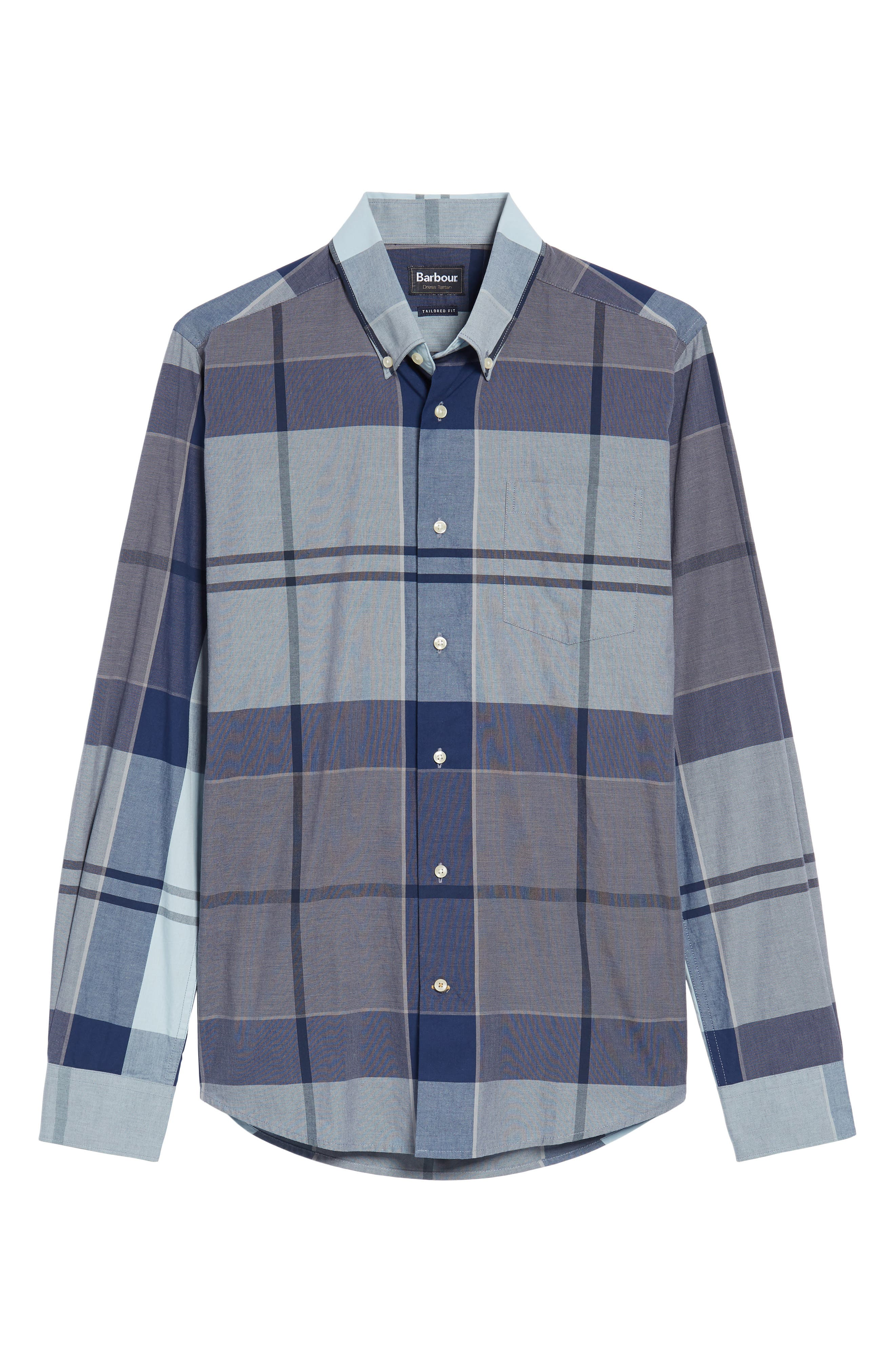 Arndale Tailored Fit Plaid Sport Shirt,                             Alternate thumbnail 6, color,                             Chambray