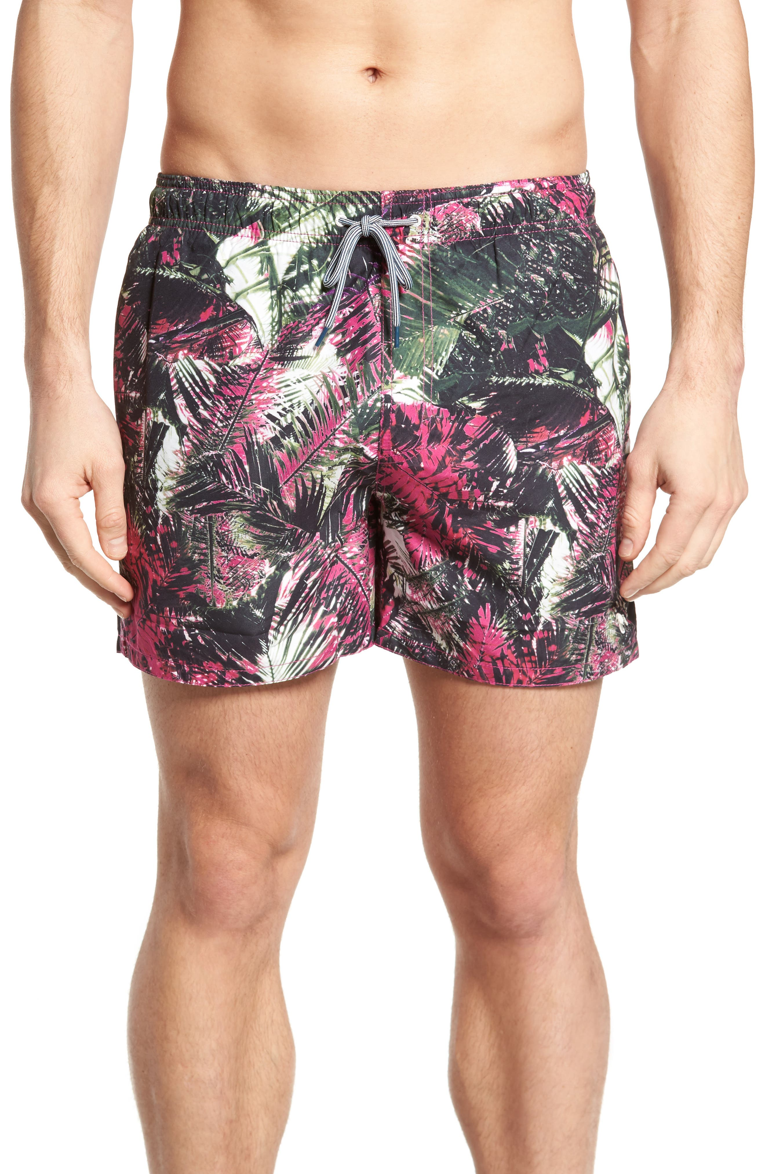 Spencer Tropical Leaf Print Swim Trunks,                             Main thumbnail 1, color,                             Pink