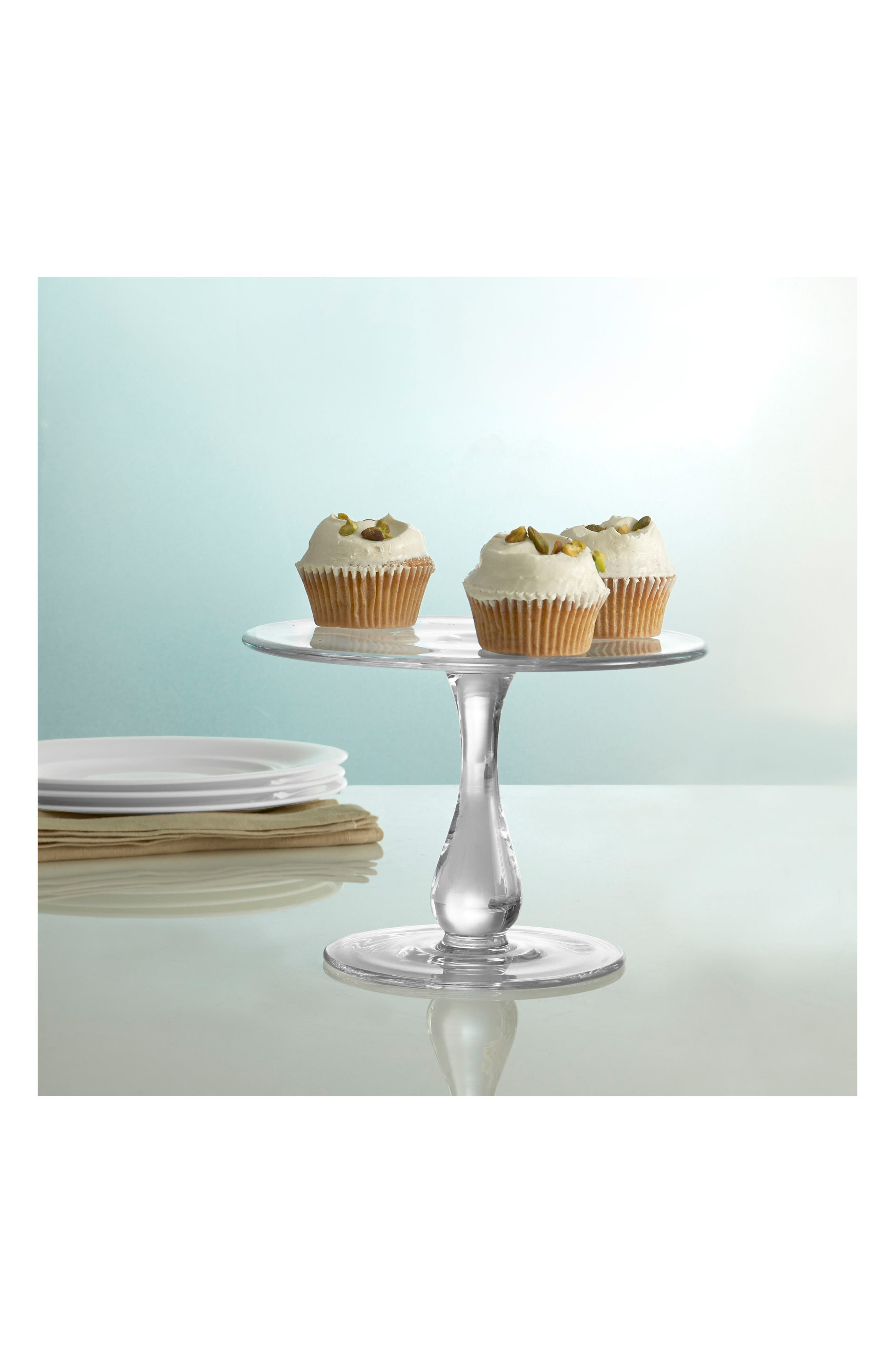 Moderne Cake Plate,                             Alternate thumbnail 2, color,                             Clear