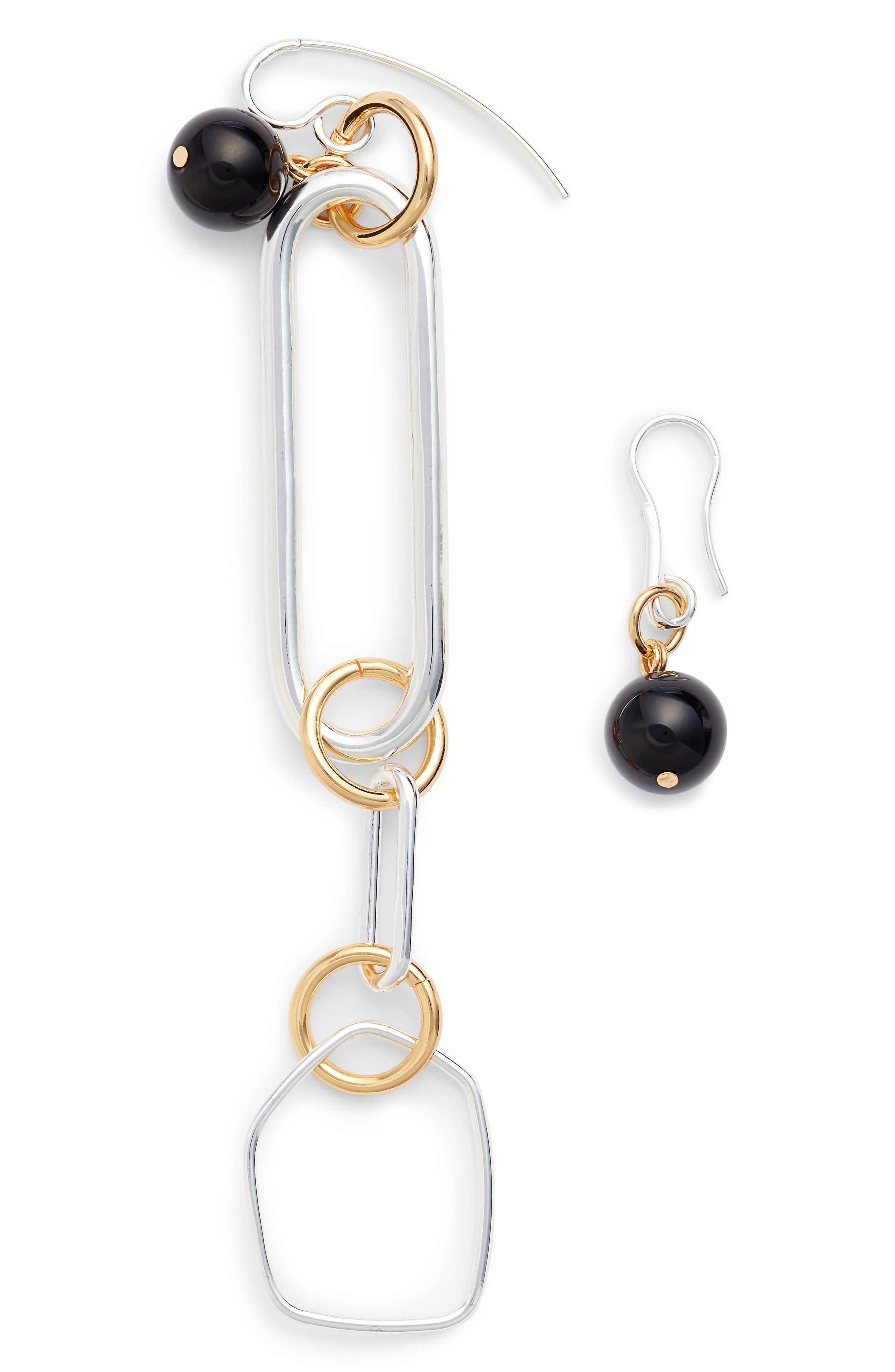 Asymmetrical Drop Earrings,                             Main thumbnail 1, color,                             Gold/ Silver/ Black
