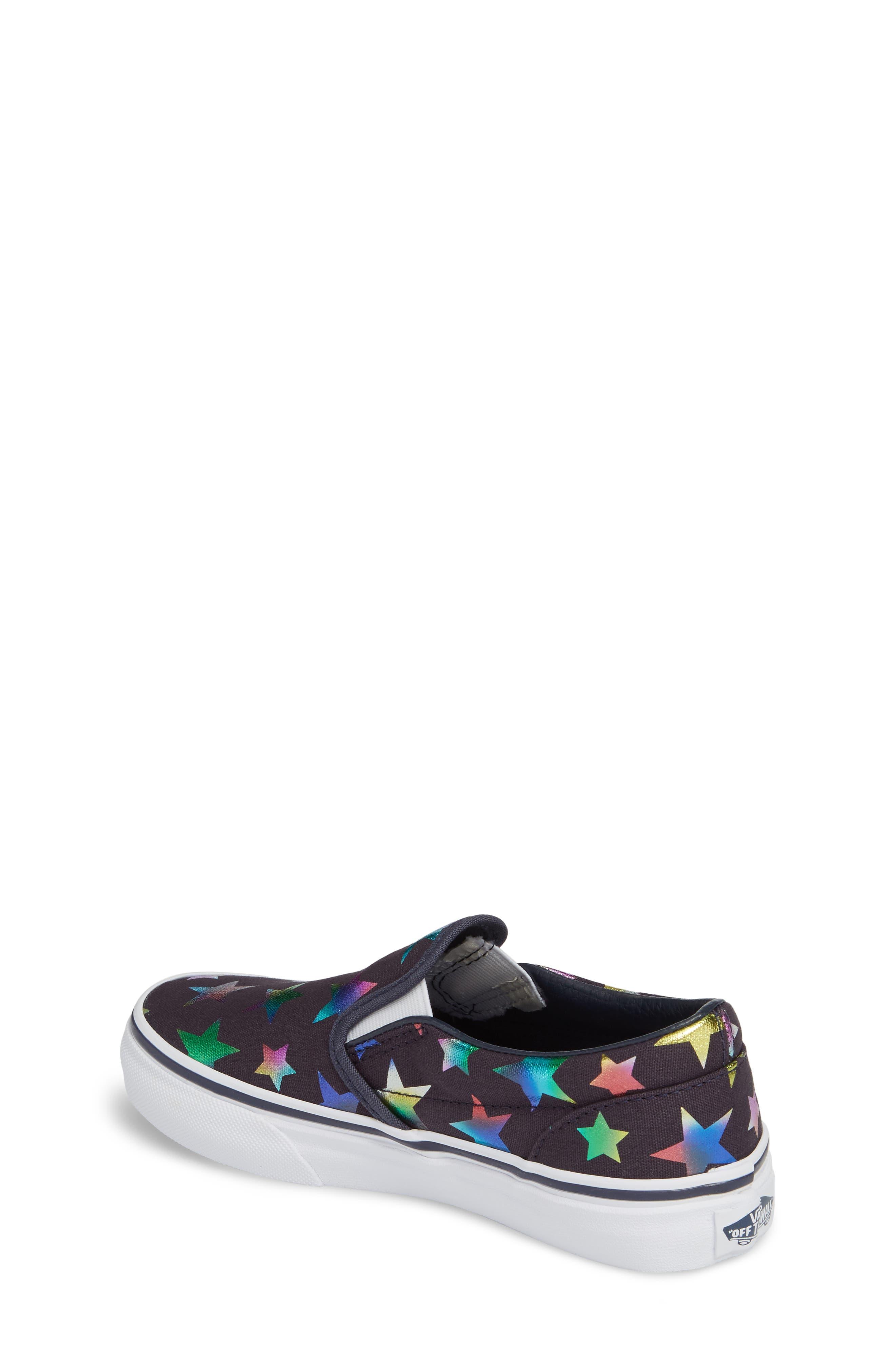 Classic Rainbow Shimmer Star Slip-On Sneaker,                             Alternate thumbnail 2, color,                             Parisian Night Foil Stars