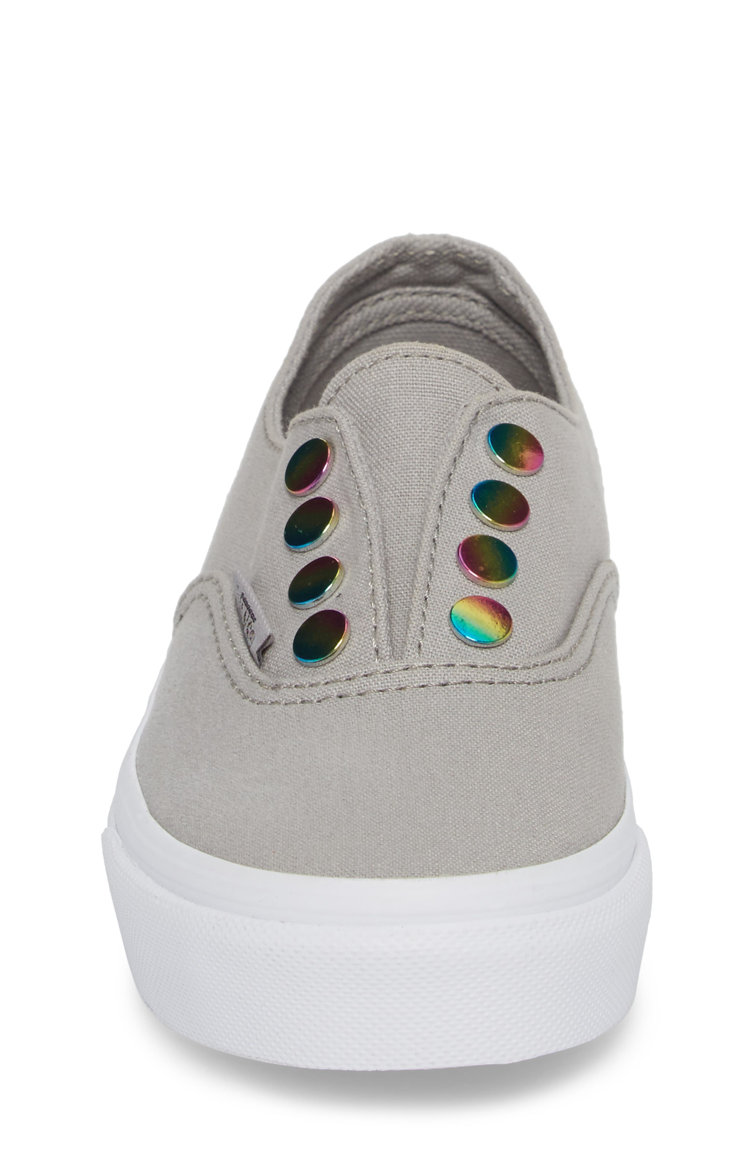 Authentic Gore Slip-On Sneaker,                             Alternate thumbnail 4, color,                             Drizzle/ Rainbow Eyelet